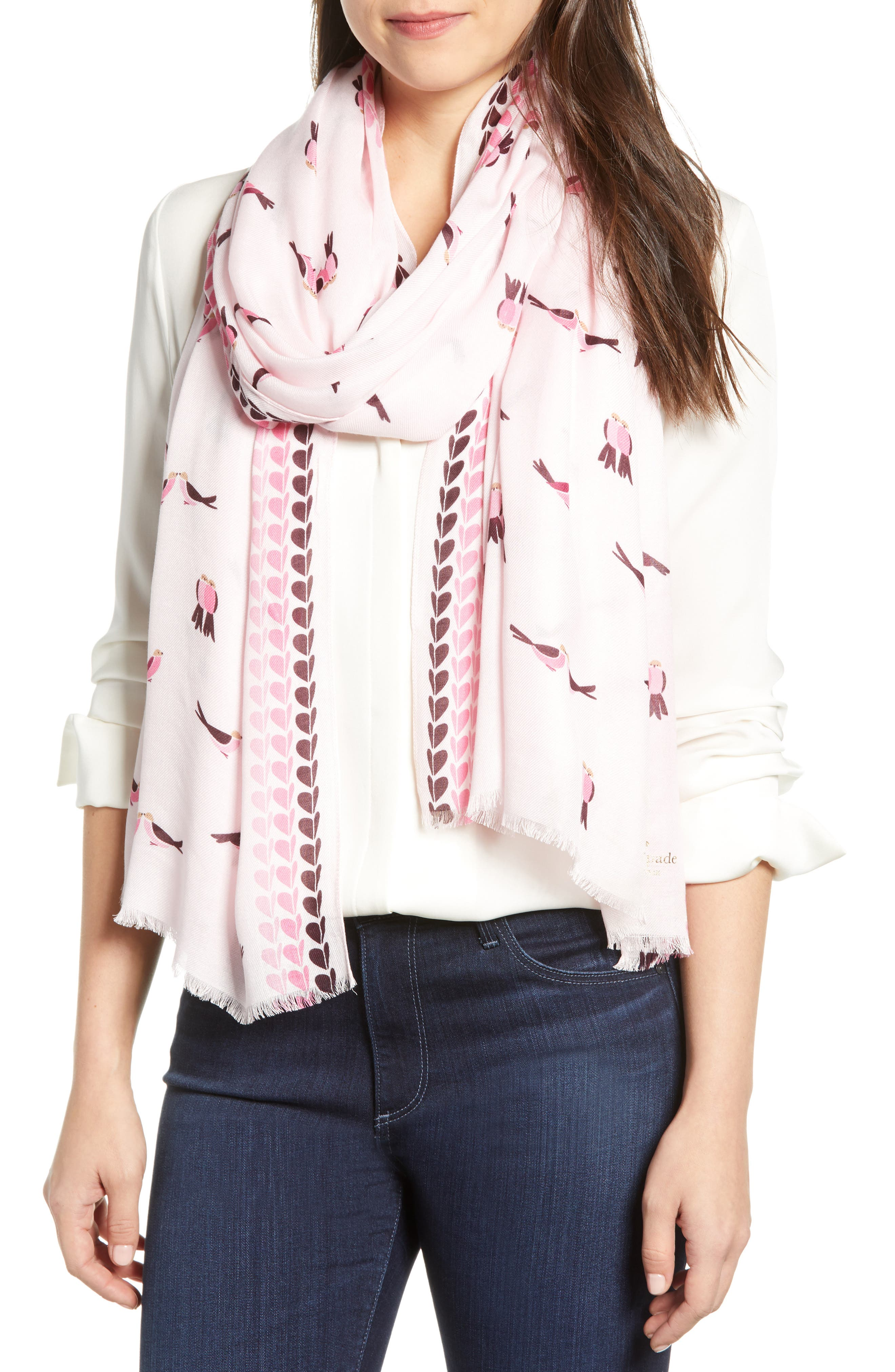 KATE SPADE NEW YORK lovebirds scarf, Main, color, PINK MAJOLICA
