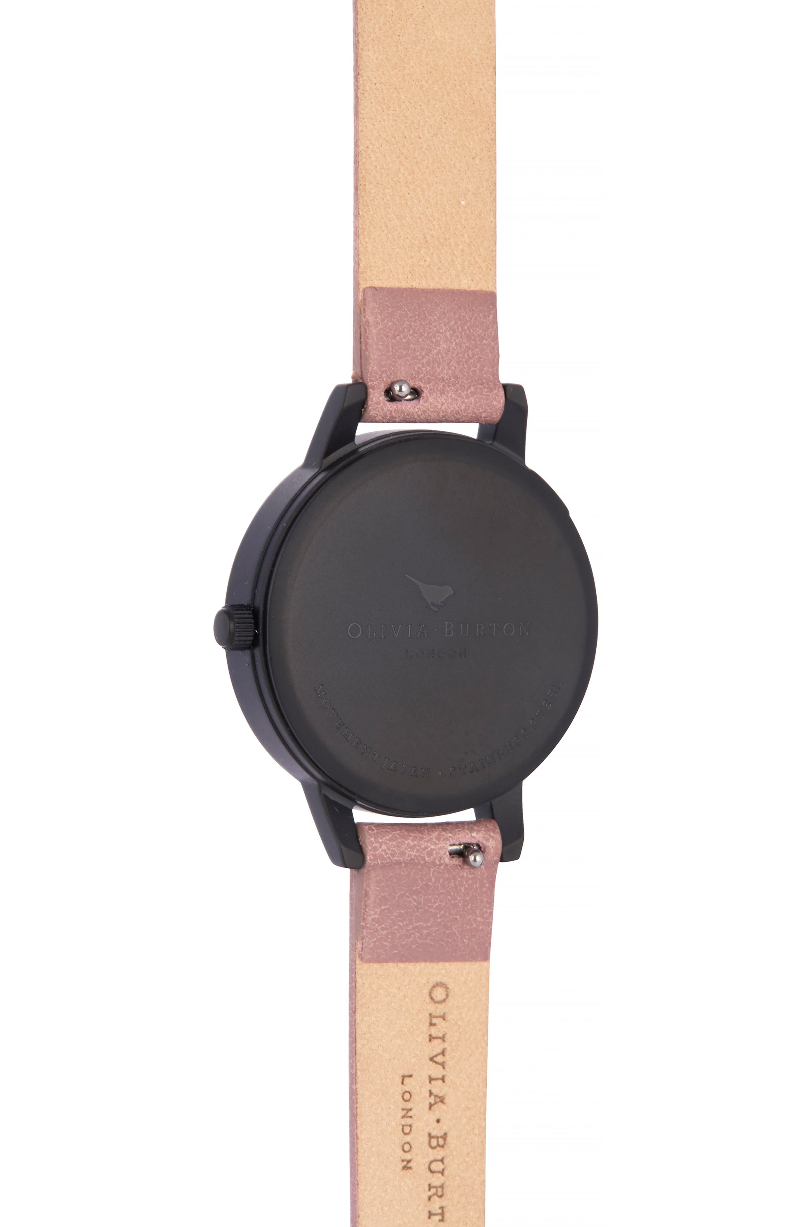 After Dark Leather Strap Watch, 30mm,                             Alternate thumbnail 2, color,                             DUSTY ROSE/ FLORAL/ BLACK