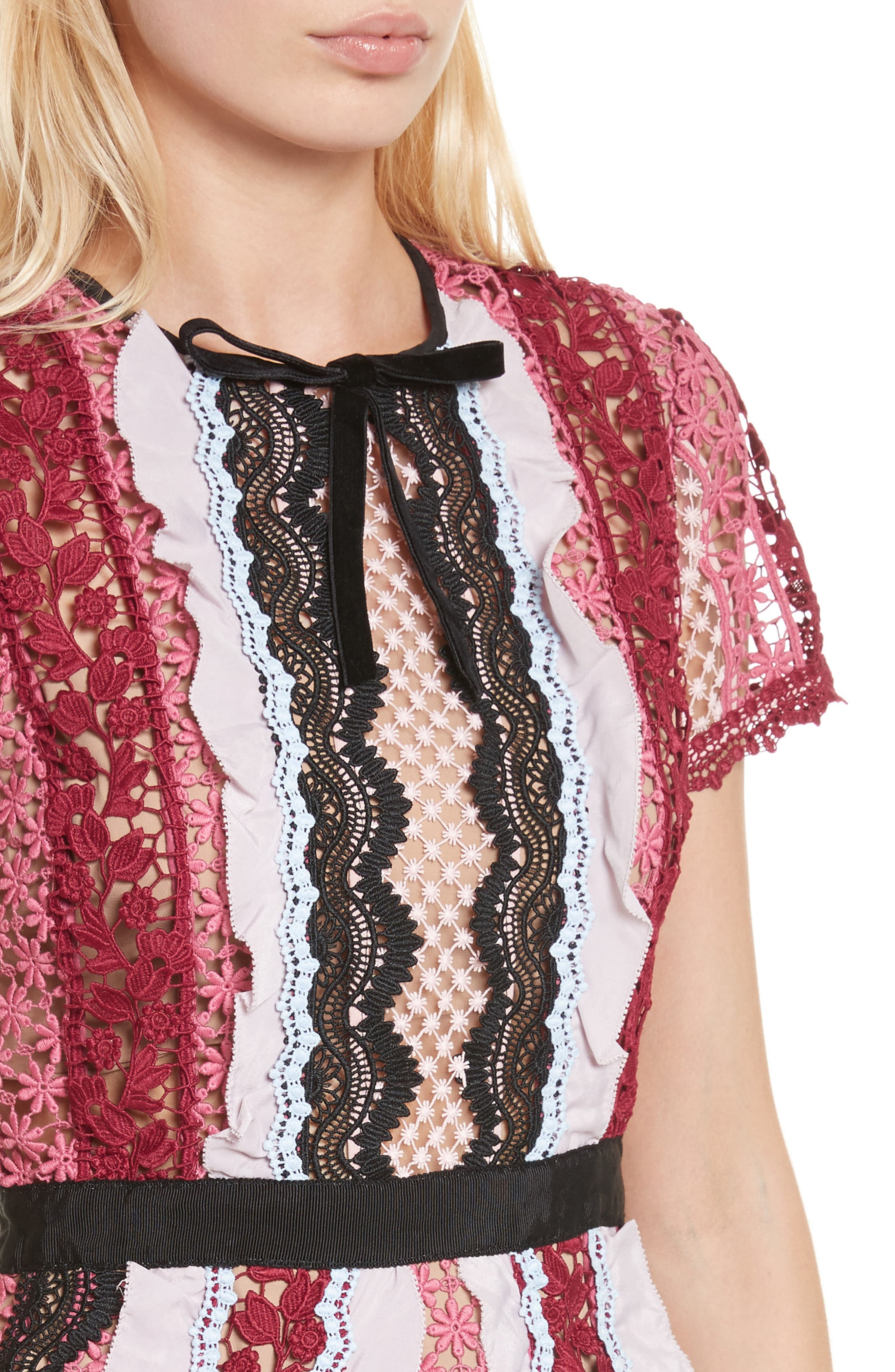 Paneled Bellis Lace Minidress,                             Alternate thumbnail 4, color,                             650