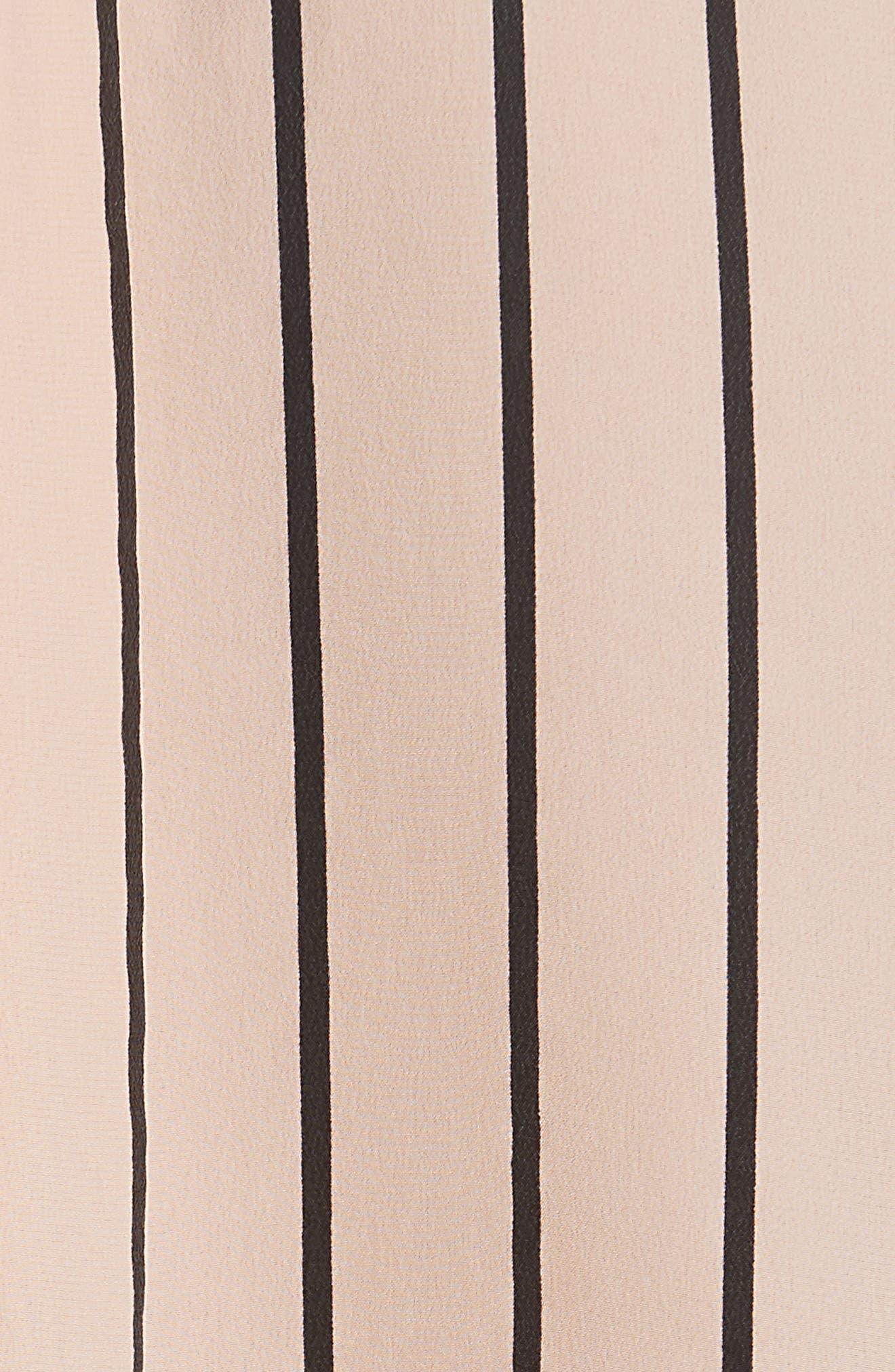 Signature Crop Stripe Silk Shirt,                             Alternate thumbnail 5, color,                             282