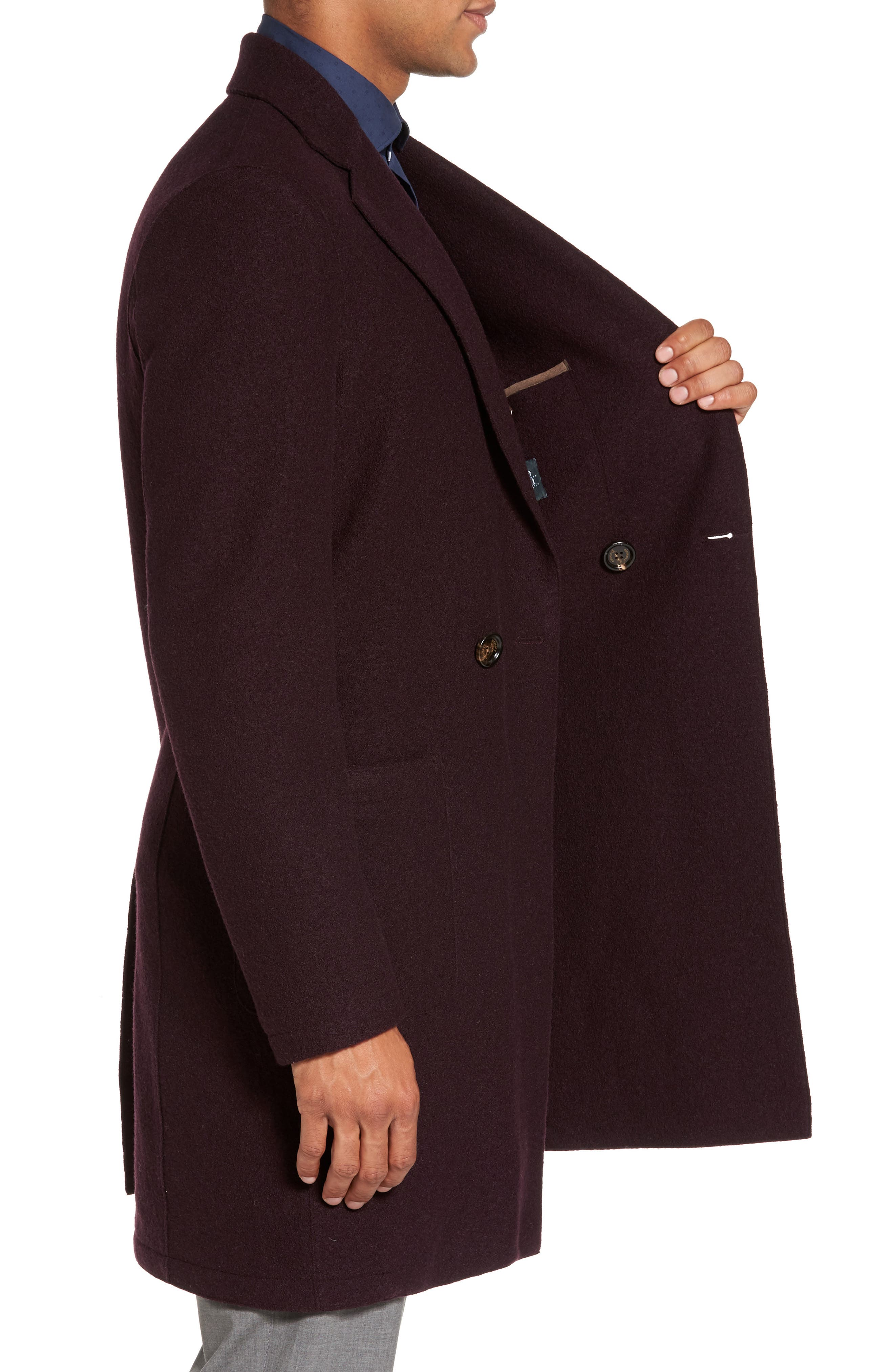 Boiled Wool Double Breasted Topcoat,                             Alternate thumbnail 3, color,                             930