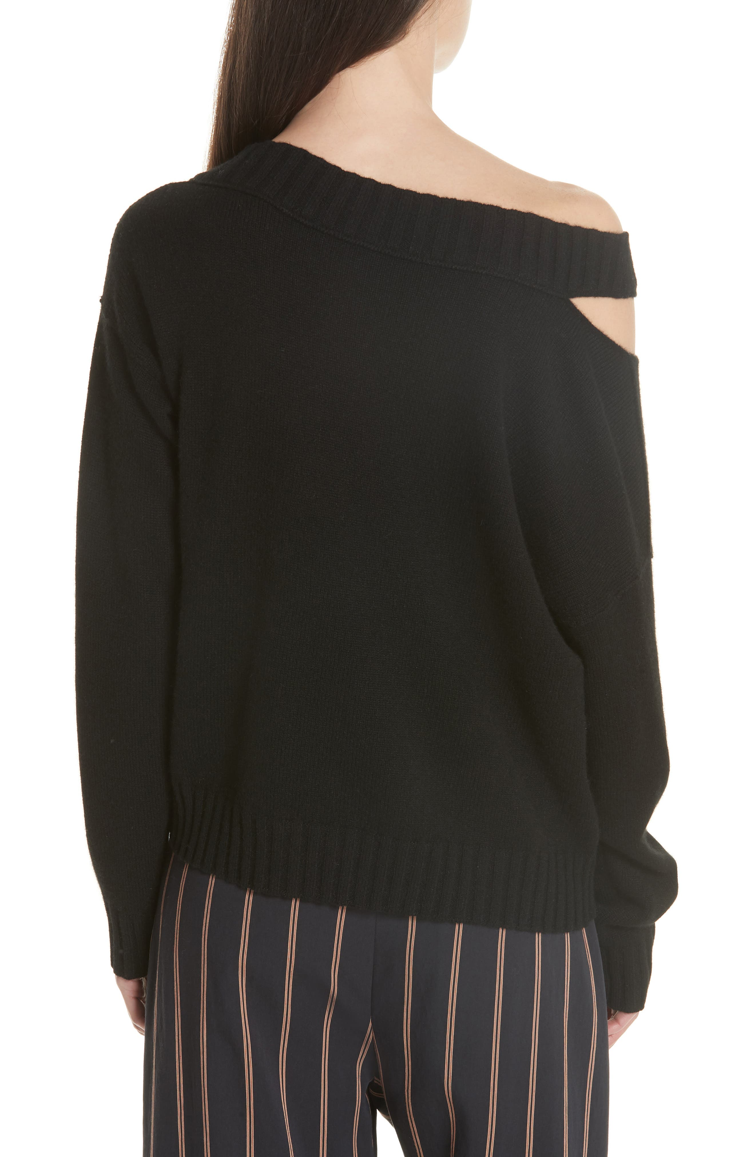 One Shoulder Slit Pullover Sweater,                             Alternate thumbnail 2, color,                             001