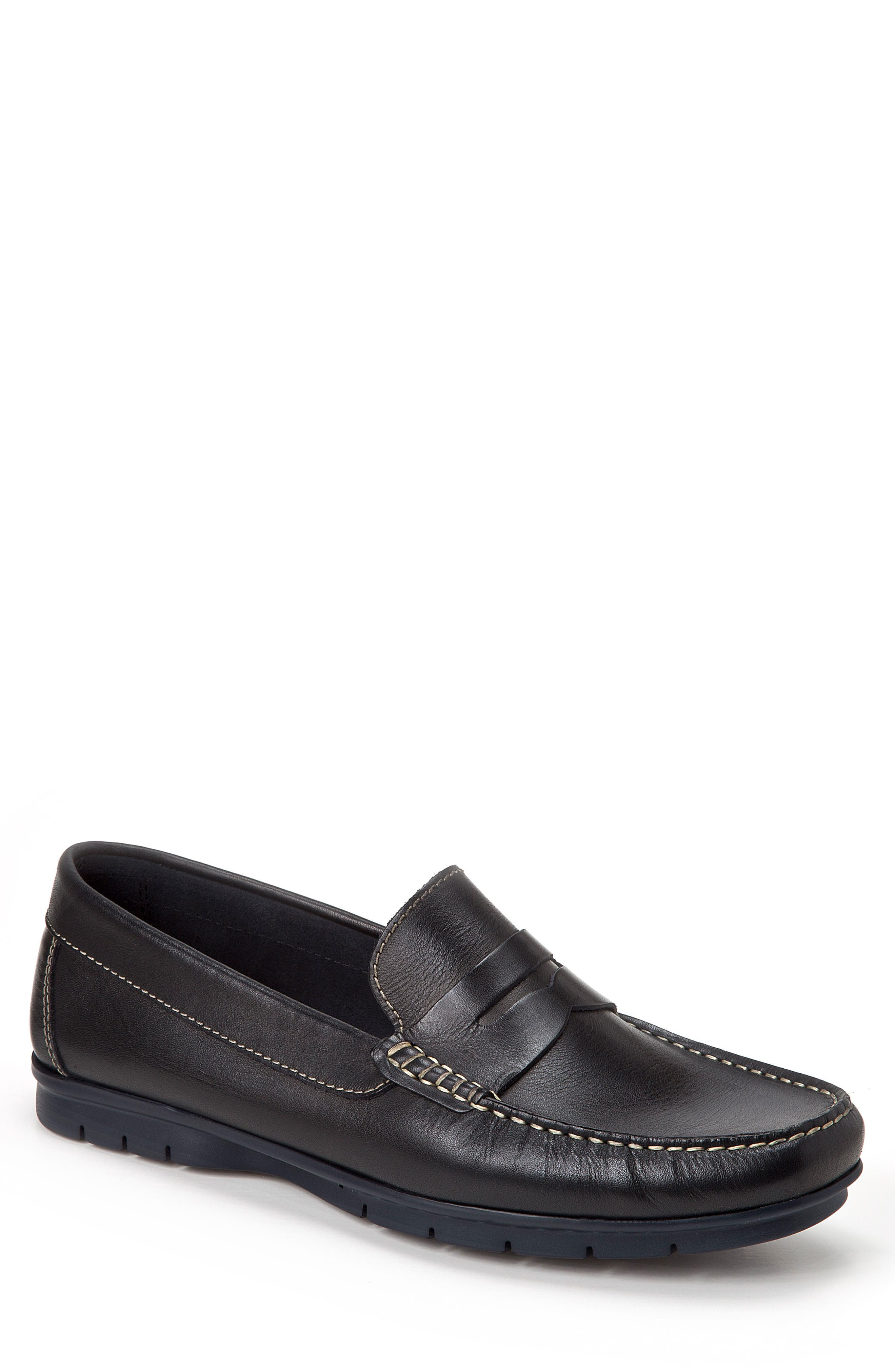 Paco Penny Loafer,                             Main thumbnail 1, color,                             BLACK LEATHER