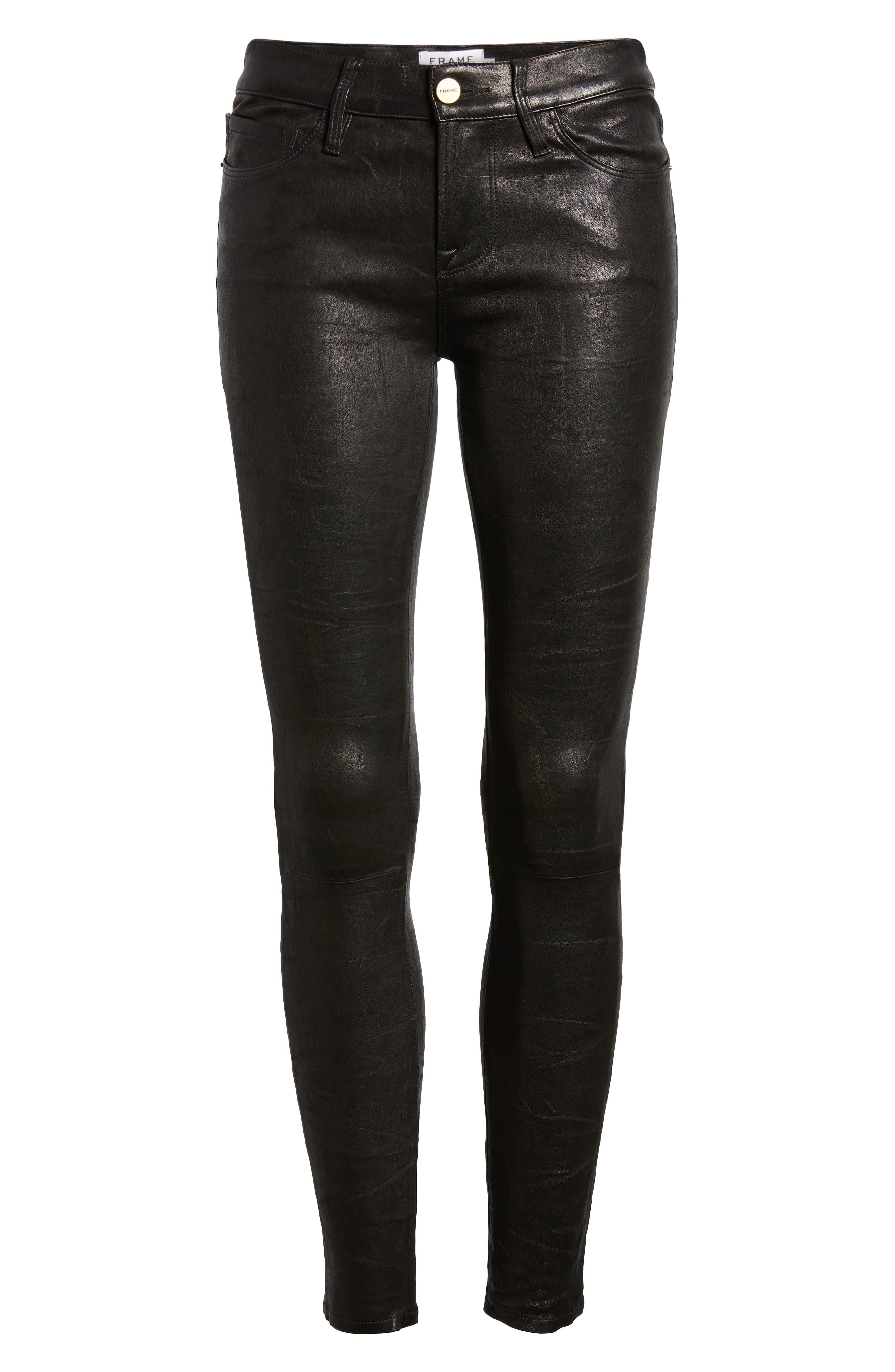 'Le Skinny' Lambskin Leather Pants,                             Main thumbnail 1, color,                             WASHED BLACK