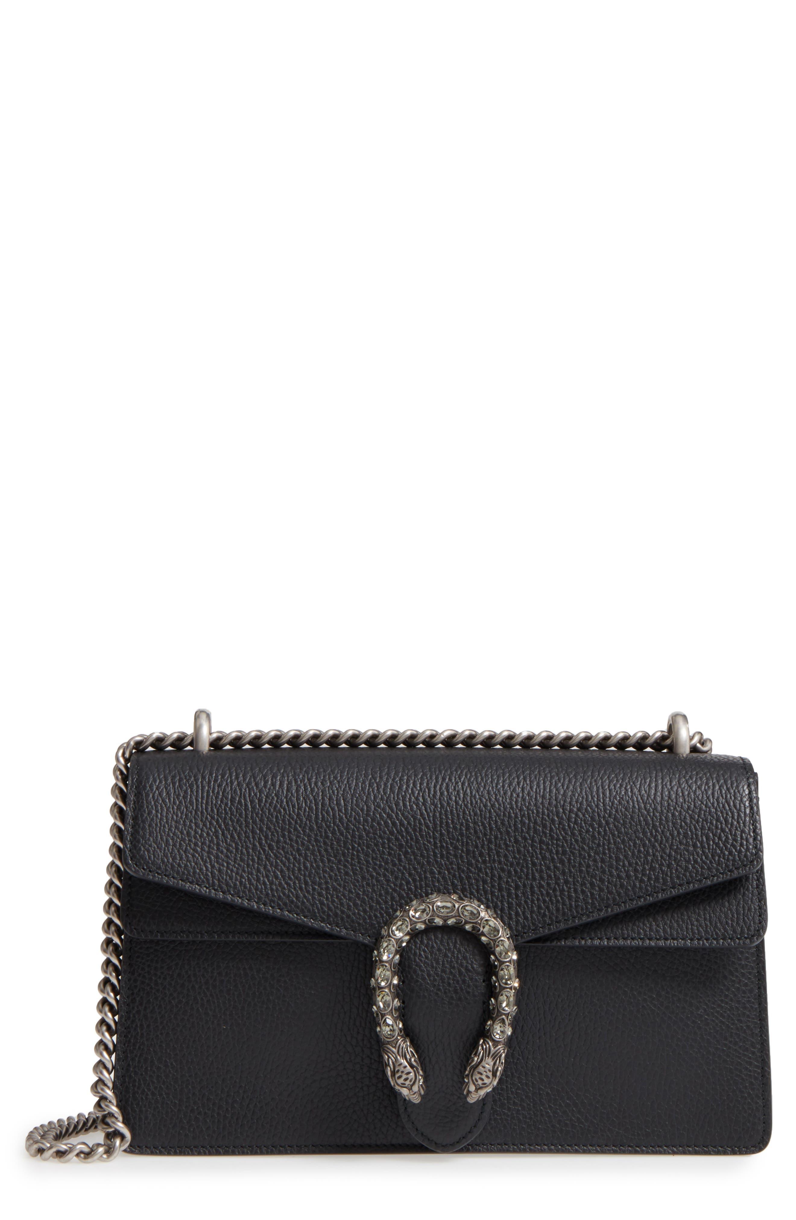 Small Dionysus Leather Shoulder Bag,                         Main,                         color, 8176 NERO/BLACK DIAMOND