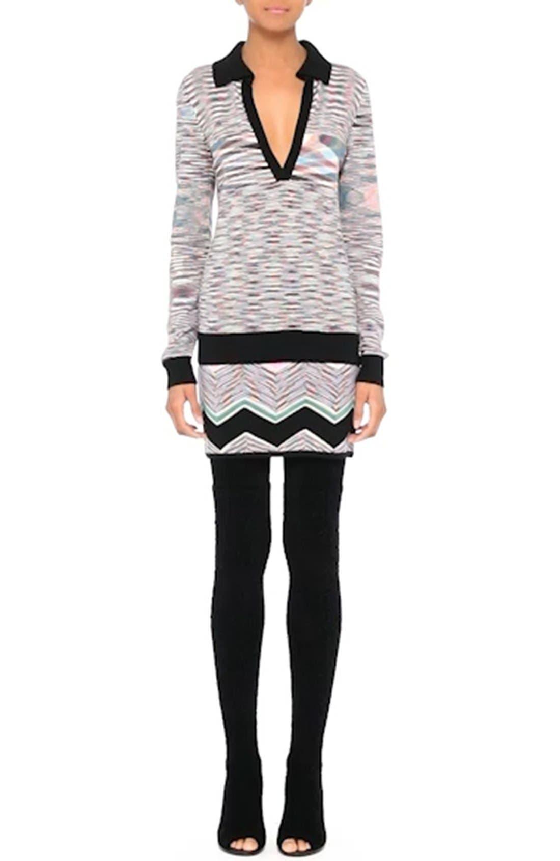 Space Dye Wool Blend Polo Sweater,                             Alternate thumbnail 8, color,                             001