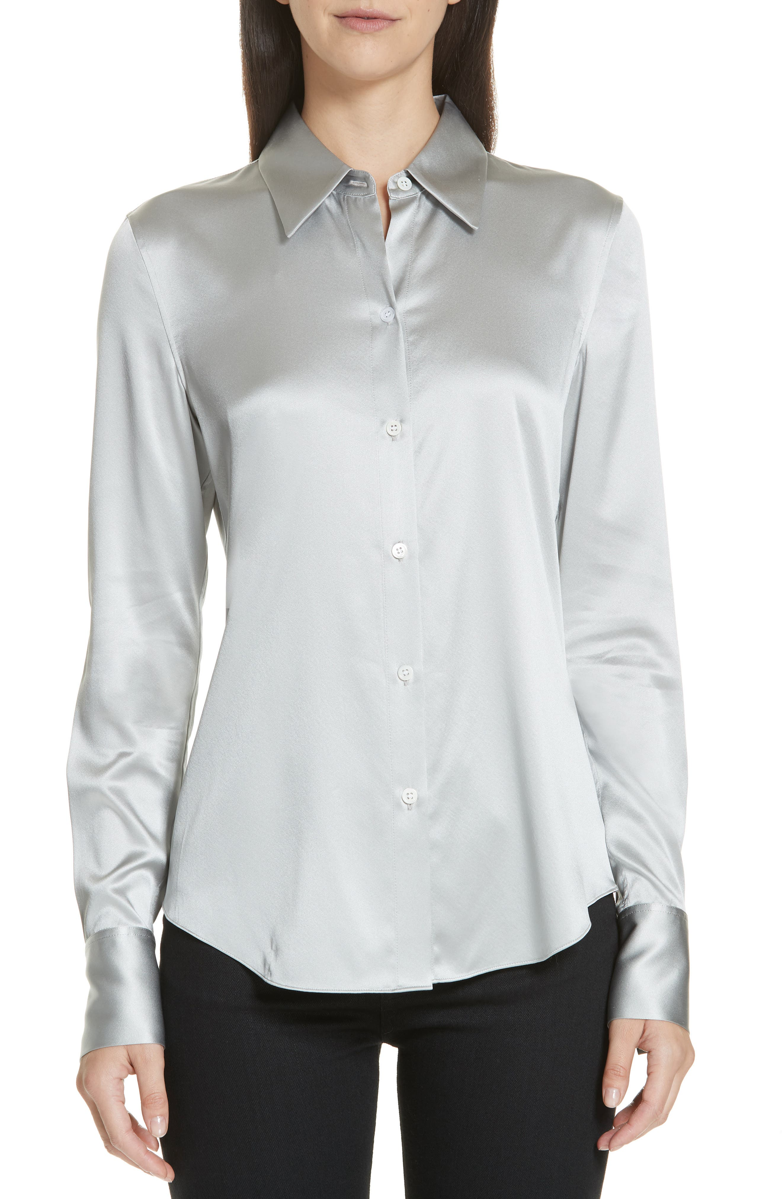 Perfect Fitted 2 Stretch-Satin Long-Sleeve Button-Down Blouse in Silver Mist