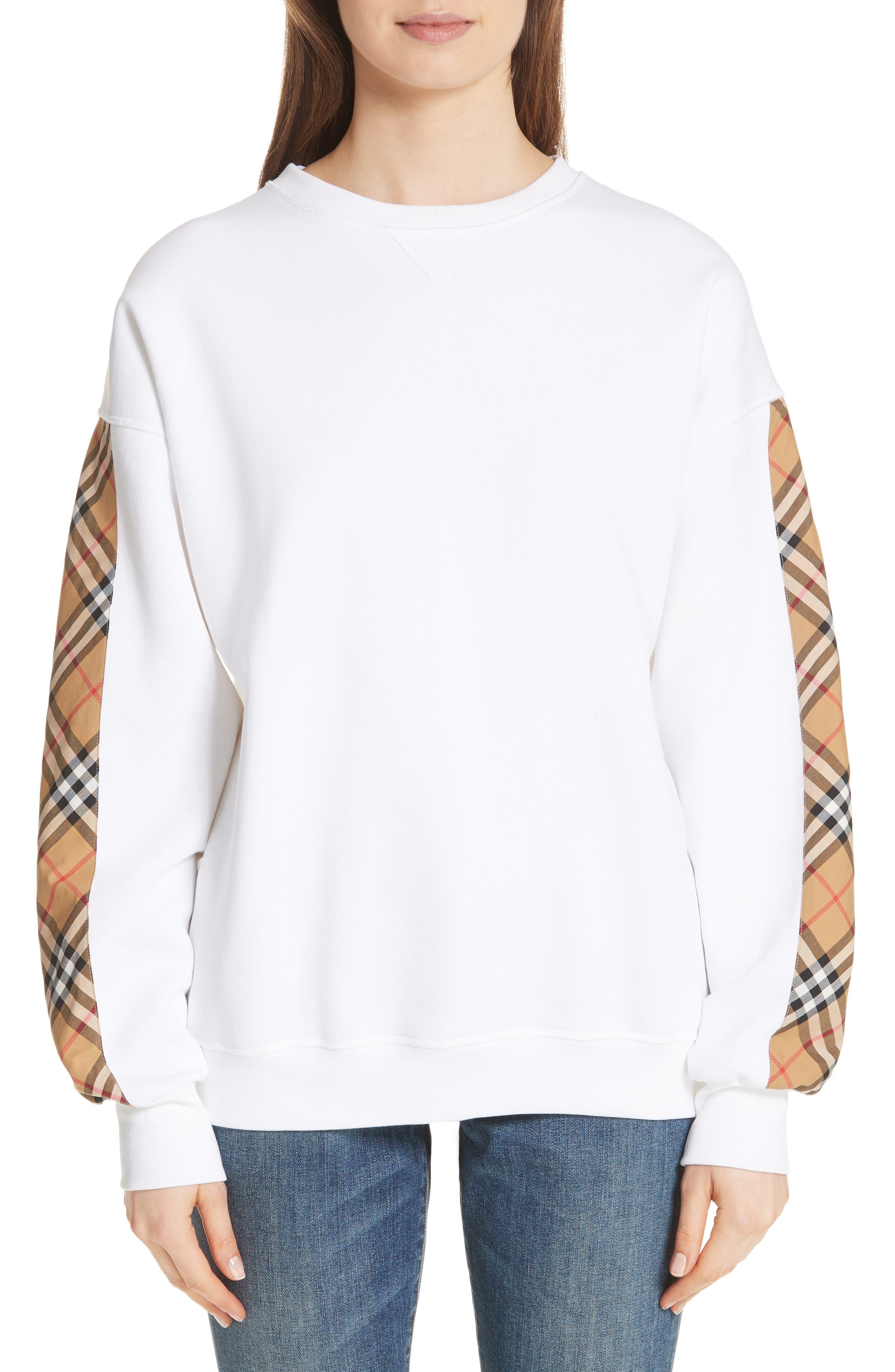Bronx Check Sleeve Sweatshirt,                             Main thumbnail 1, color,                             WHITE
