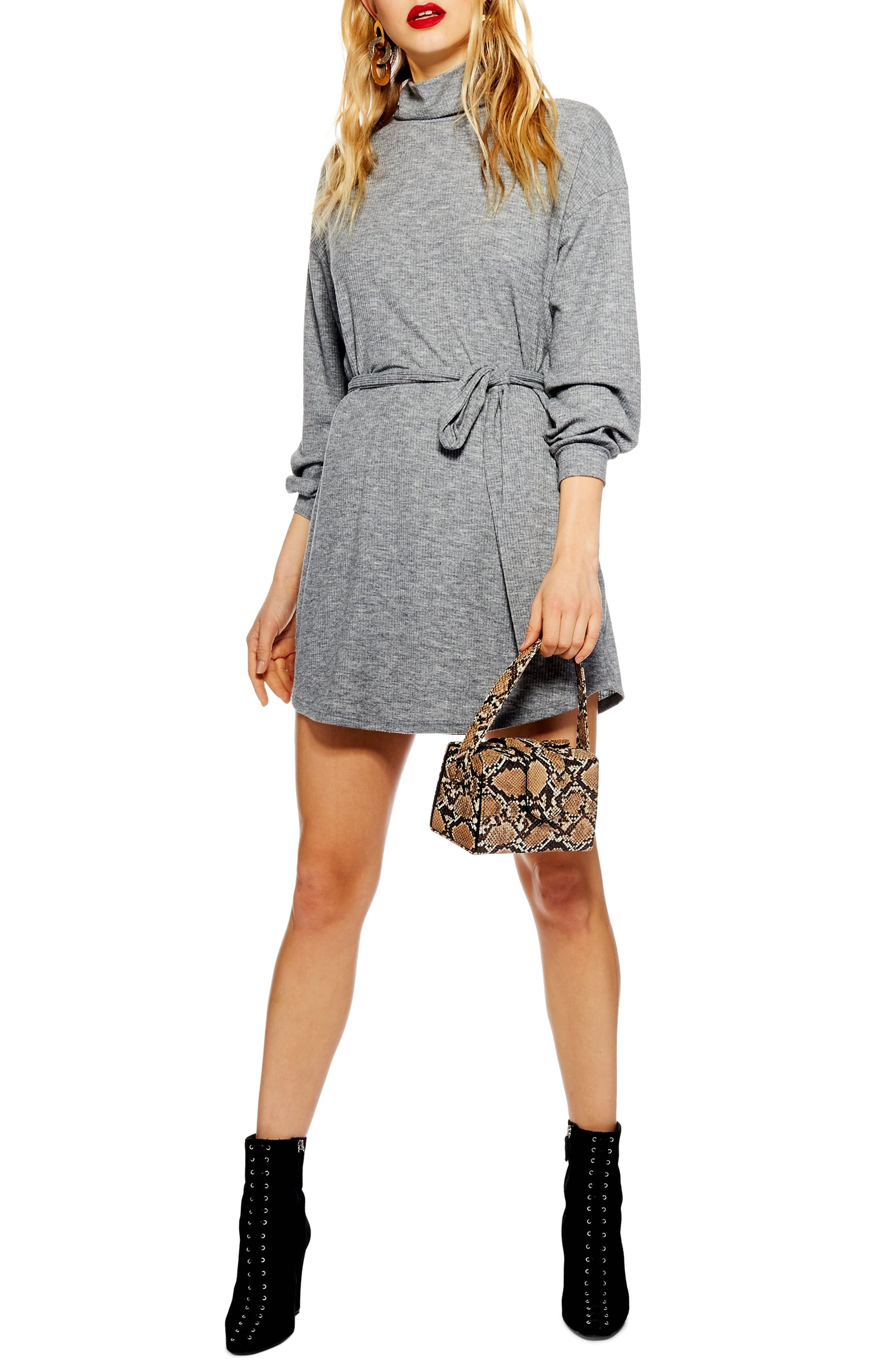 Topshop Belted Minidress, US (fits like 0) - Grey