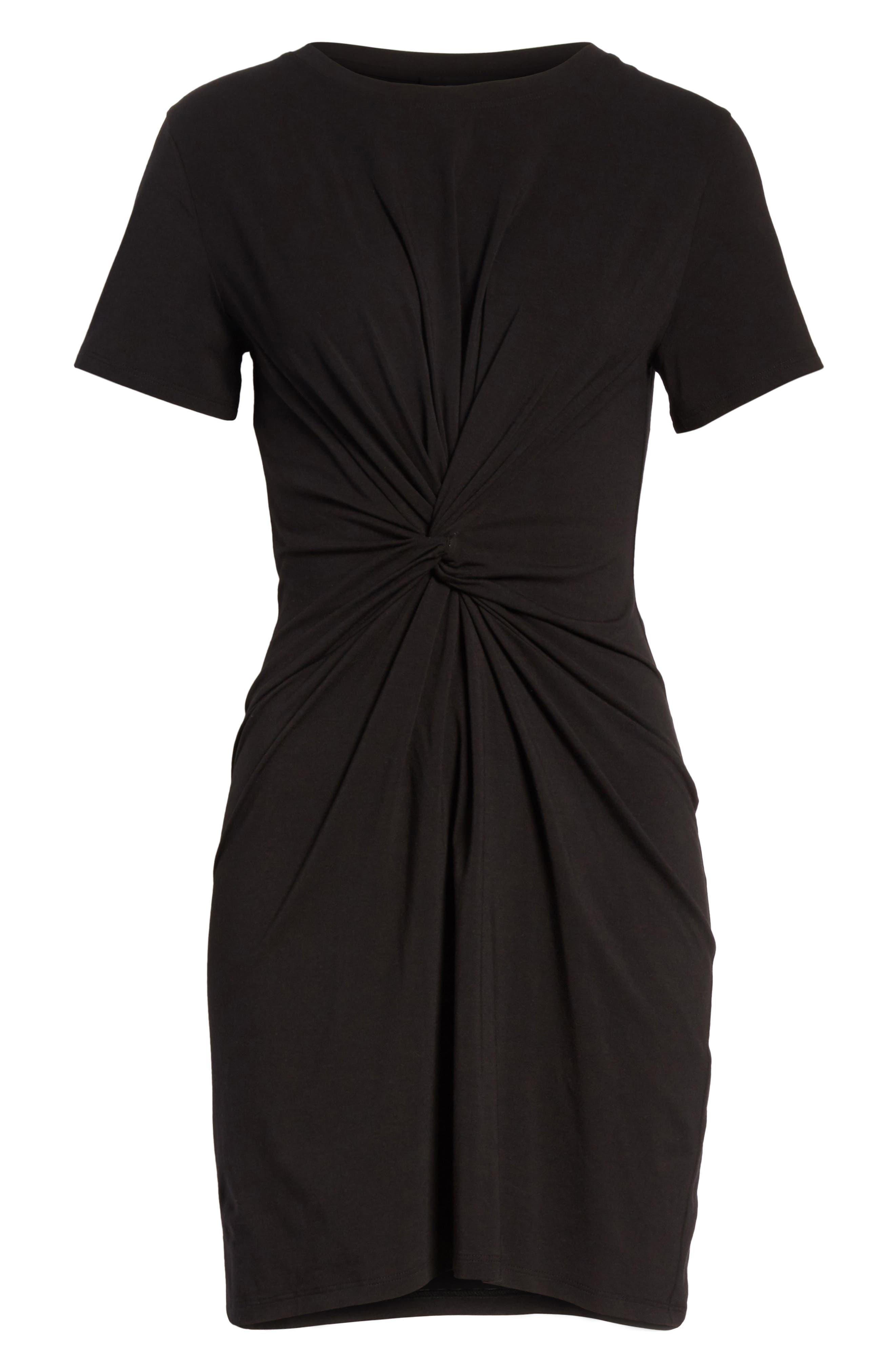 Rubri Knotted T-Shirt Dress,                             Alternate thumbnail 6, color,                             BLACK MULTI