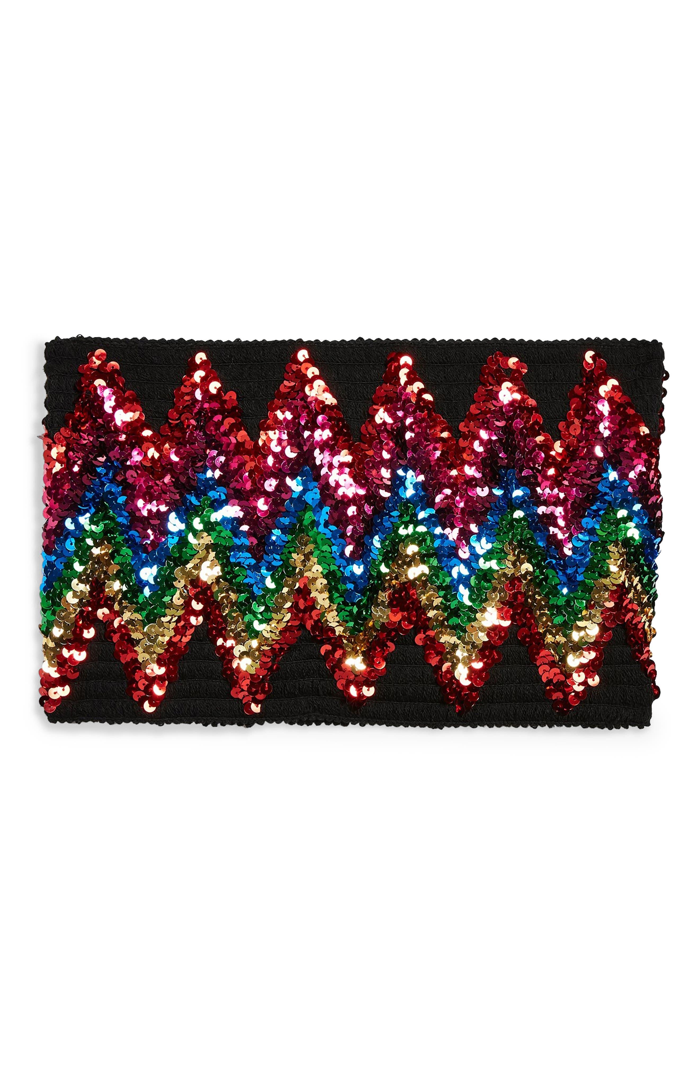 Rainbow Sequin Bandeau Top,                             Alternate thumbnail 4, color,                             BLACK MULTI
