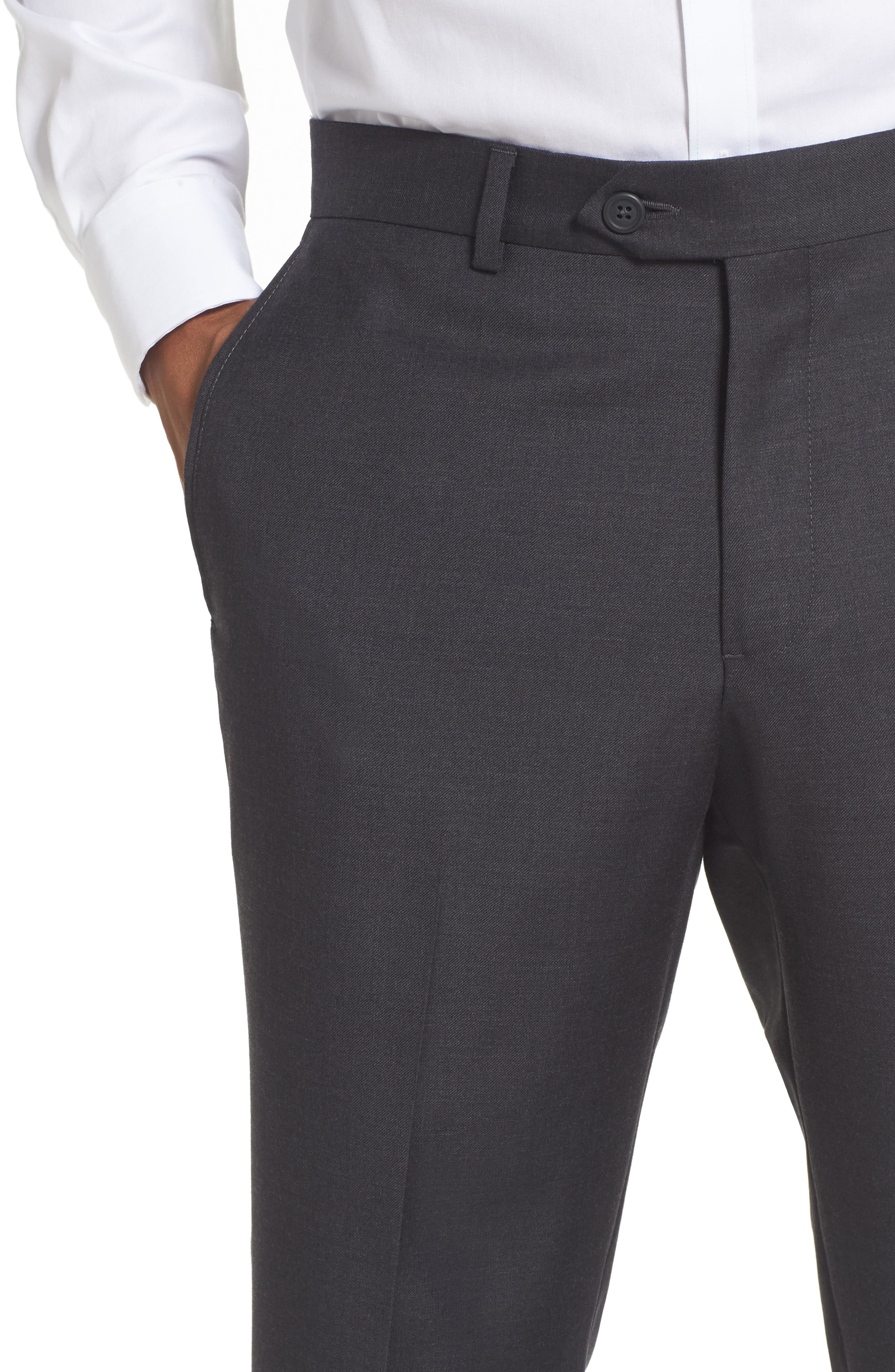 Flat Front Solid Wool Trousers,                             Alternate thumbnail 27, color,