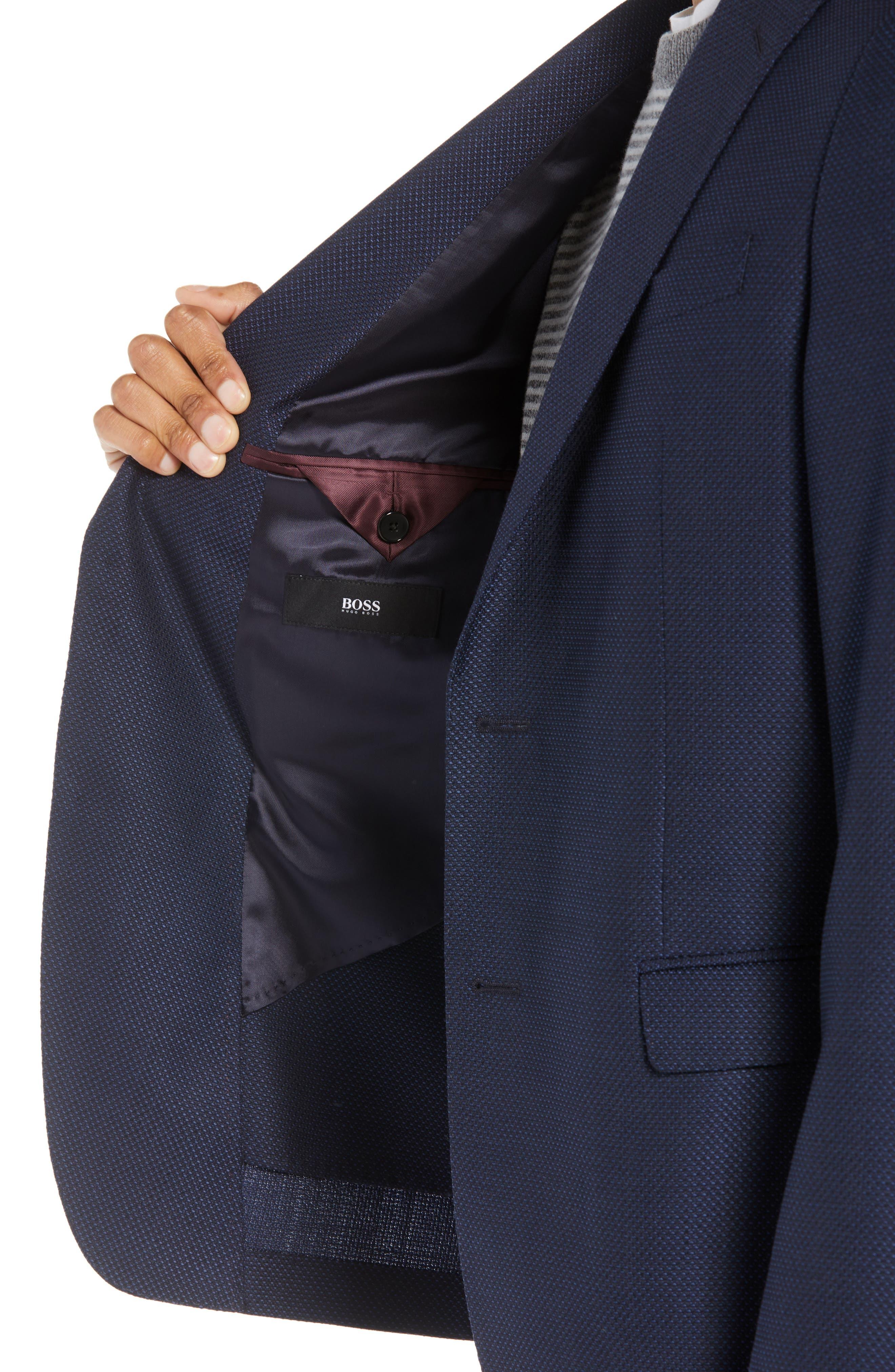 Nobis Trim Fit Wool Blazer,                             Alternate thumbnail 4, color,                             NAVY