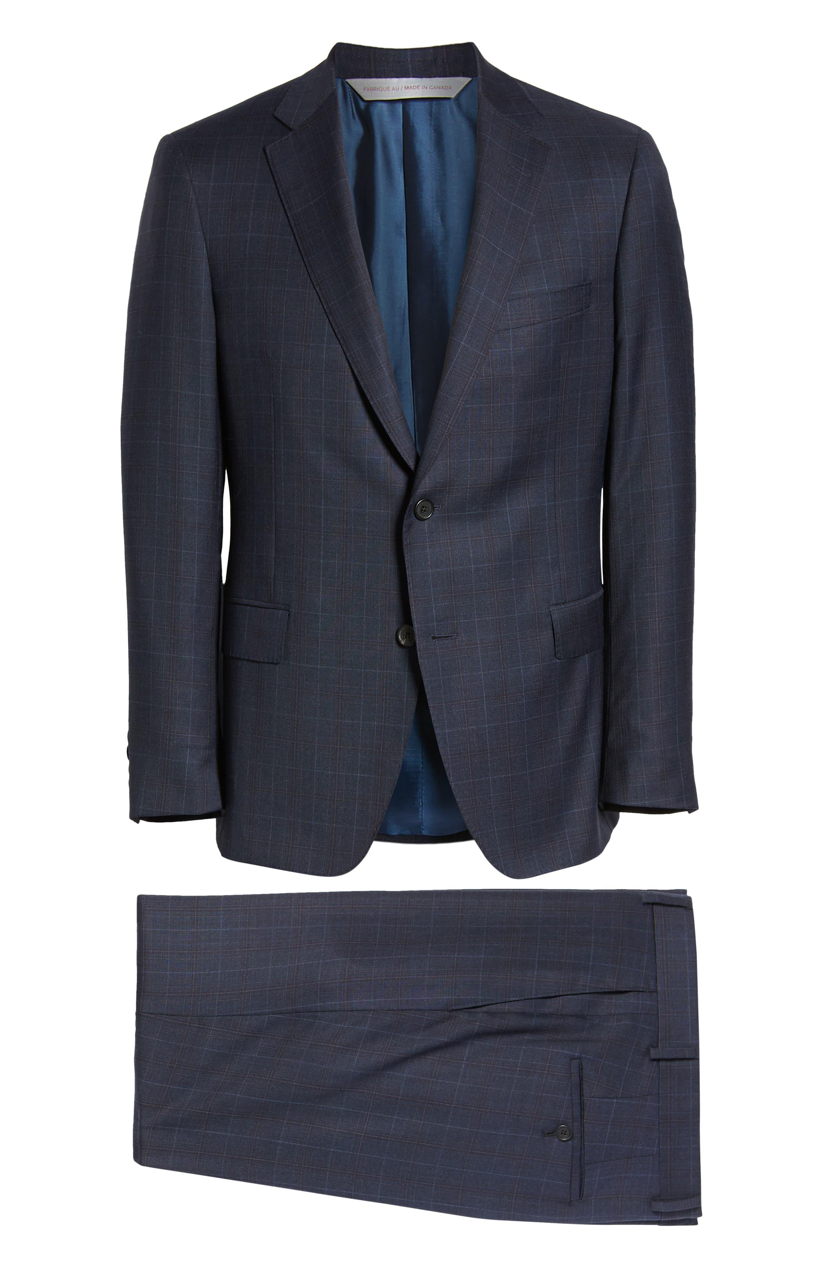 Classic Fit Plaid Wool Suit,                             Alternate thumbnail 8, color,                             BLUE