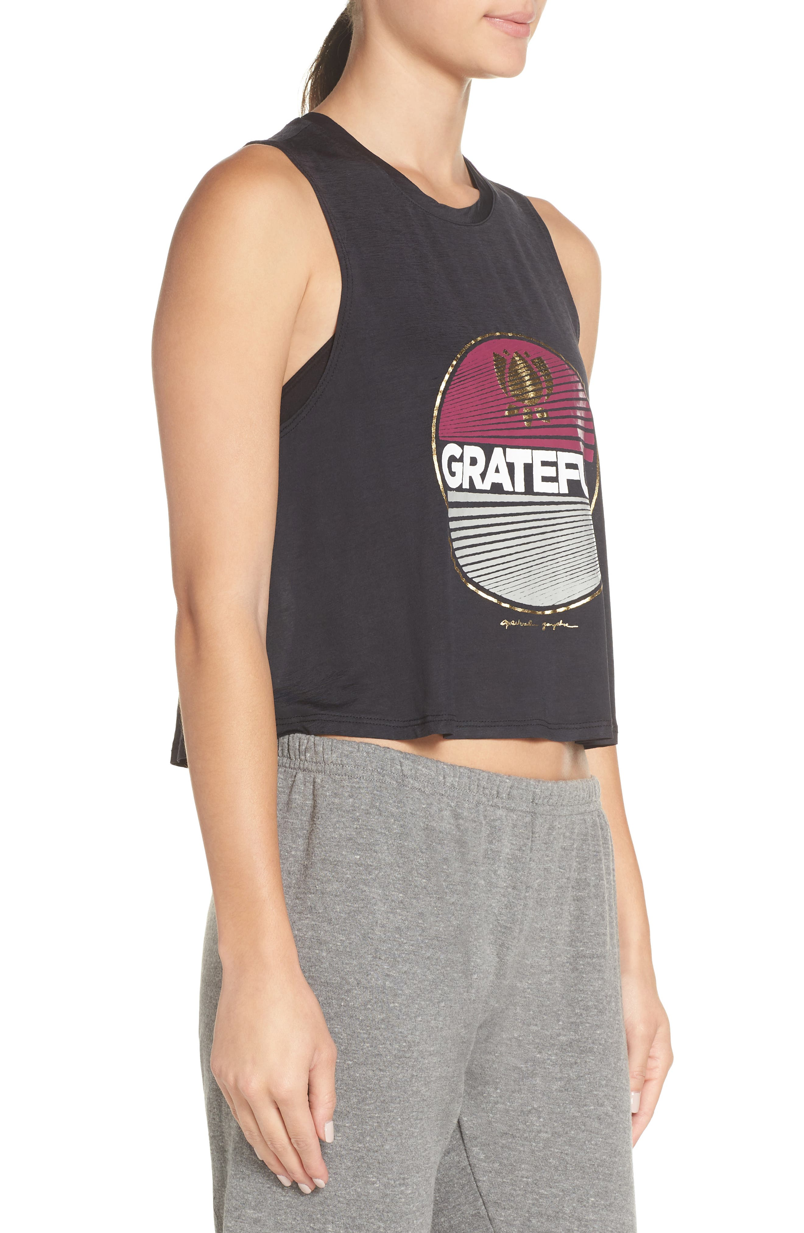 Grateful Crop Tank,                             Alternate thumbnail 3, color,                             VINTAGE BLACK