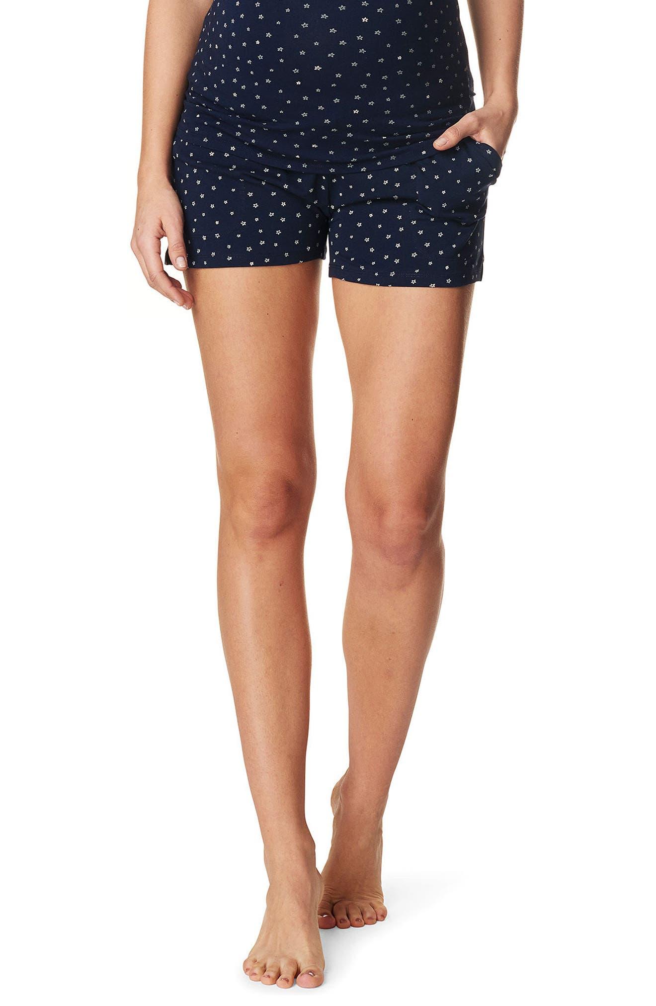 NOPPIES Pleun Maternity Shorts, Main, color, BLUE