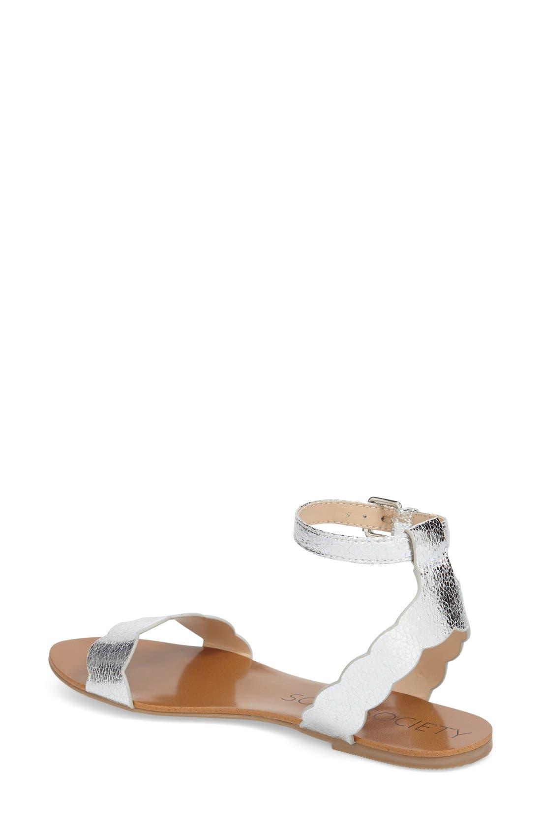 'Odette' Scalloped Ankle Strap Flat Sandal,                             Alternate thumbnail 25, color,