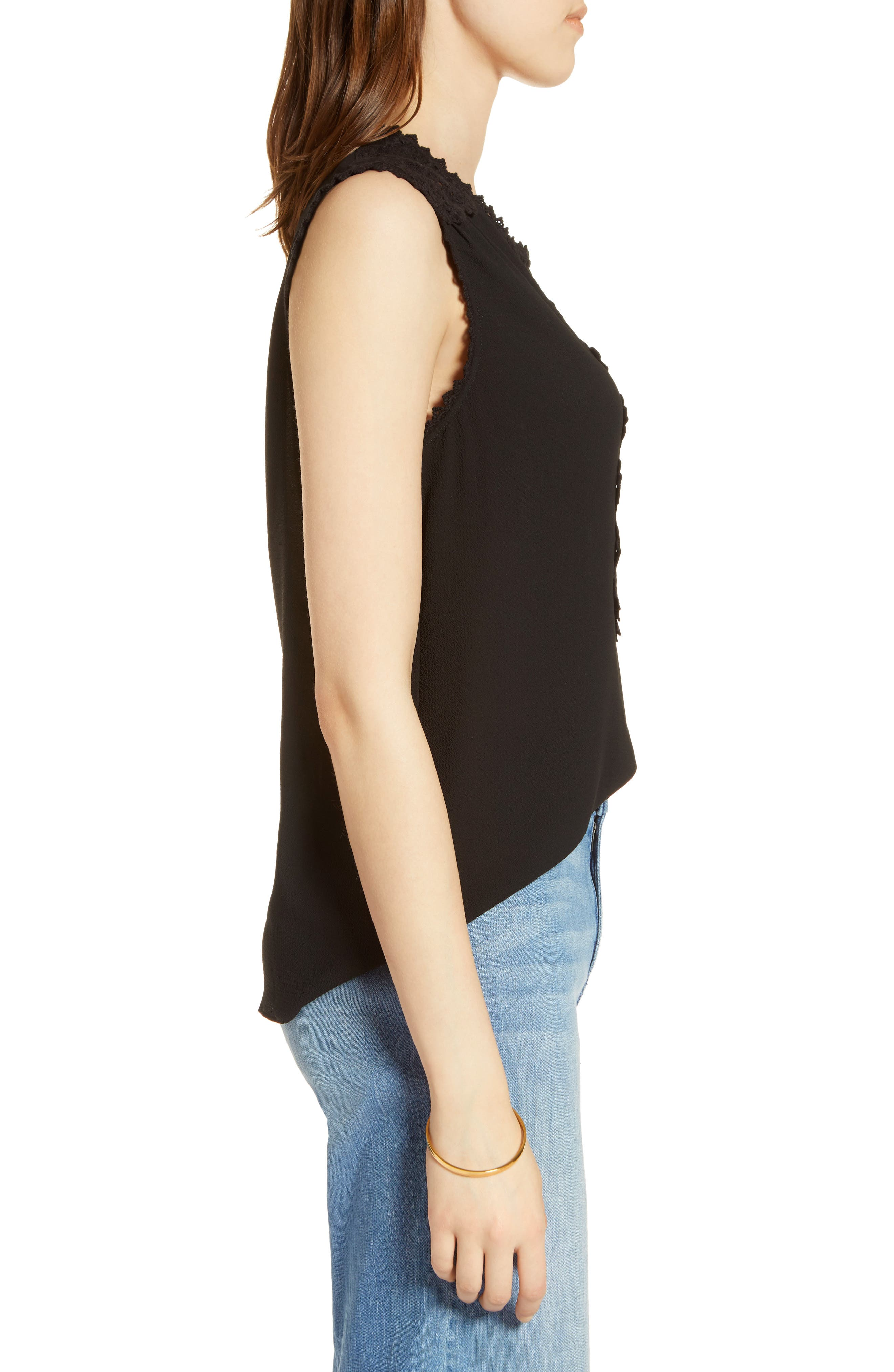 Lace Detail Stretch Crepe Tank Top,                             Alternate thumbnail 3, color,                             001