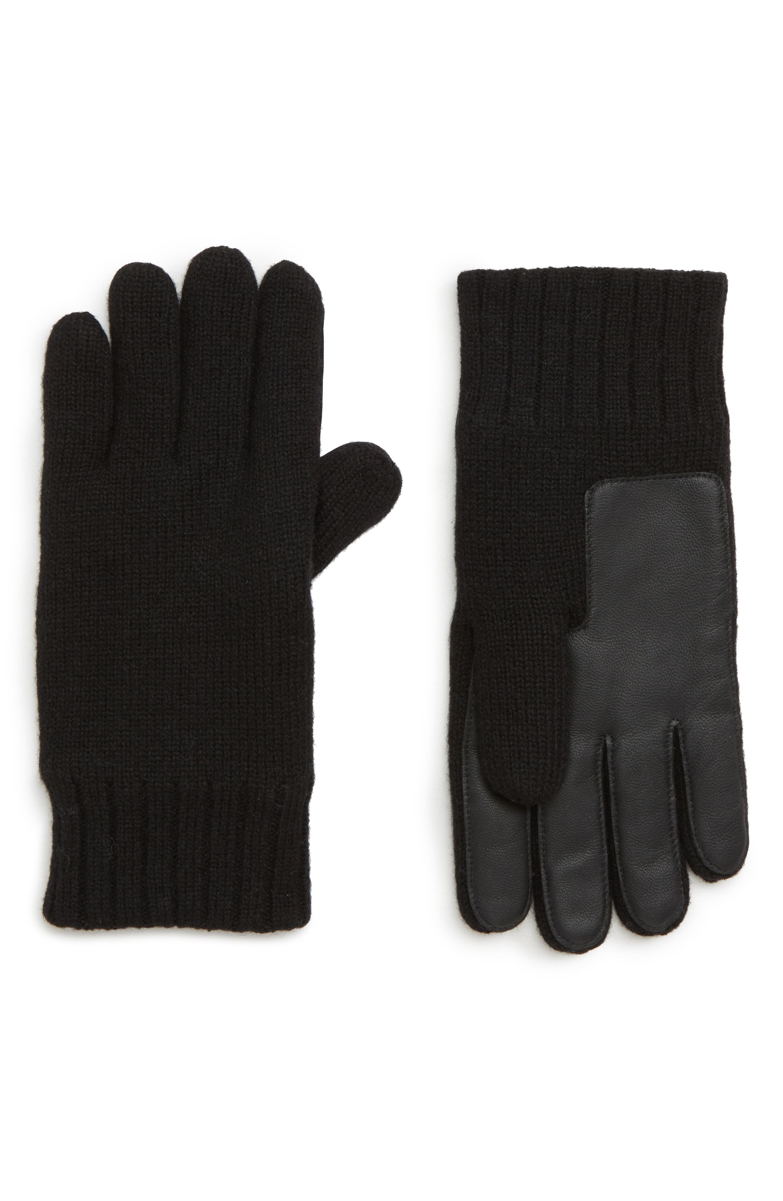 Leather Palm Knit Gloves,                         Main,                         color, BLACK
