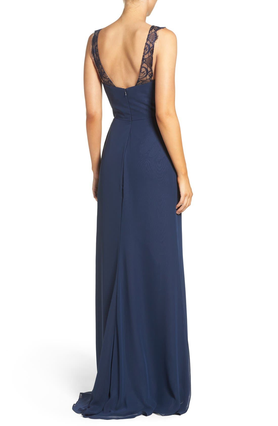 Lace Strap Gathered Chiffon Gown,                             Alternate thumbnail 11, color,