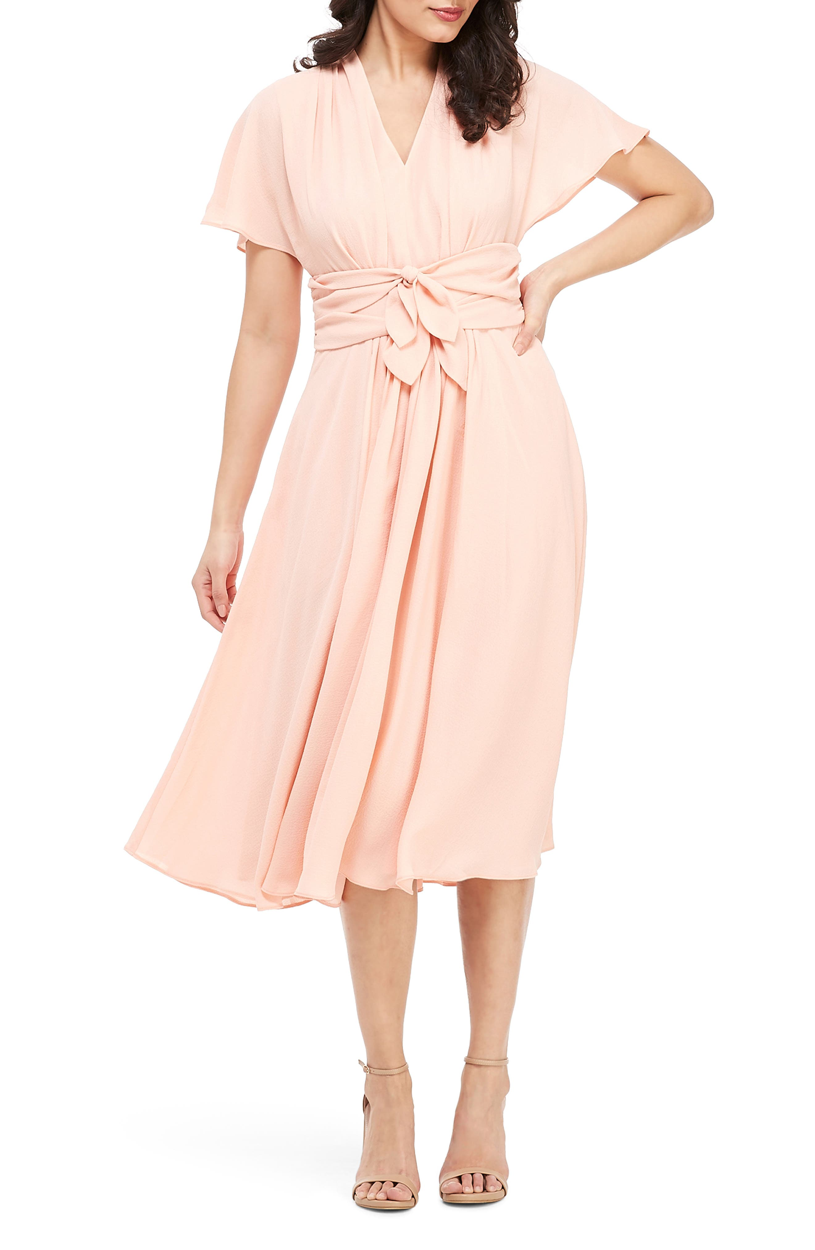 GAL MEETS GLAM COLLECTION Jane Tie Waist Midi Dress, Main, color, CORAL