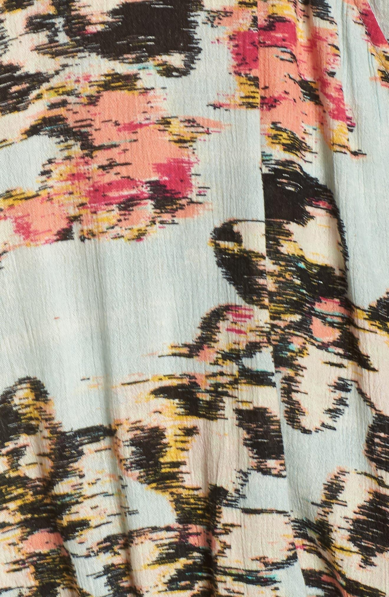 Woven Wrap Top,                             Alternate thumbnail 5, color,                             GREEN UTOPIA FLORAL