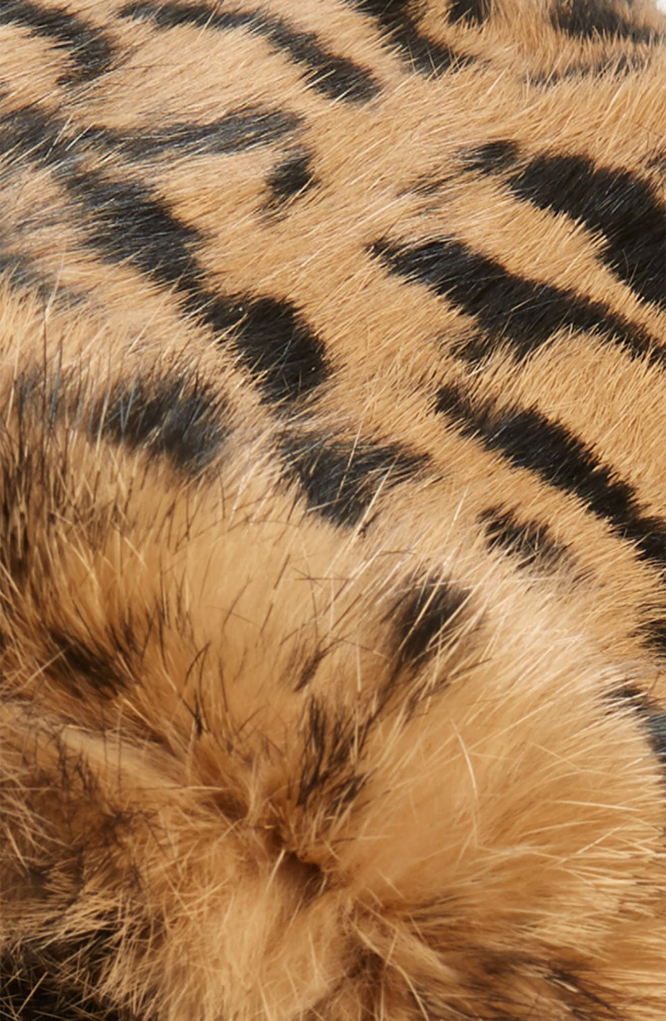 Jag Leopard Print Genuine Rabbit Fur Beret,                             Alternate thumbnail 3, color,                             NATURAL