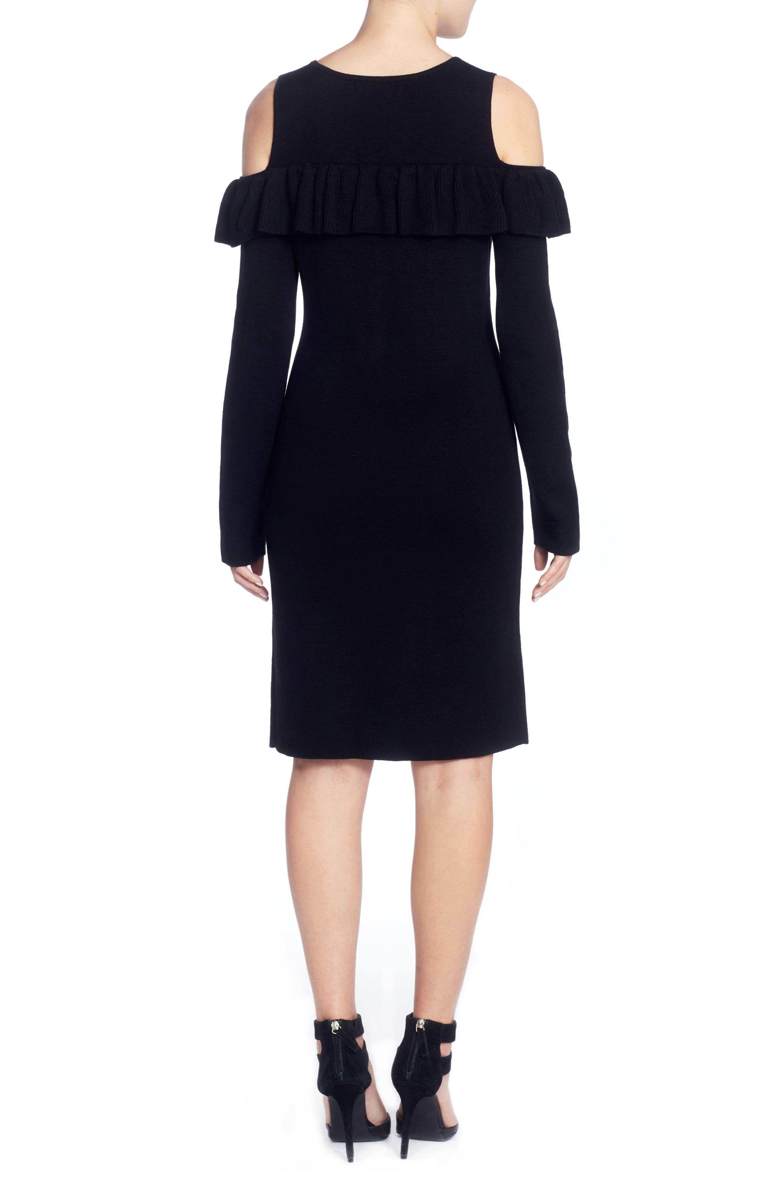 Brigid Cold Shoulder Ruffle Dress,                             Alternate thumbnail 2, color,                             010