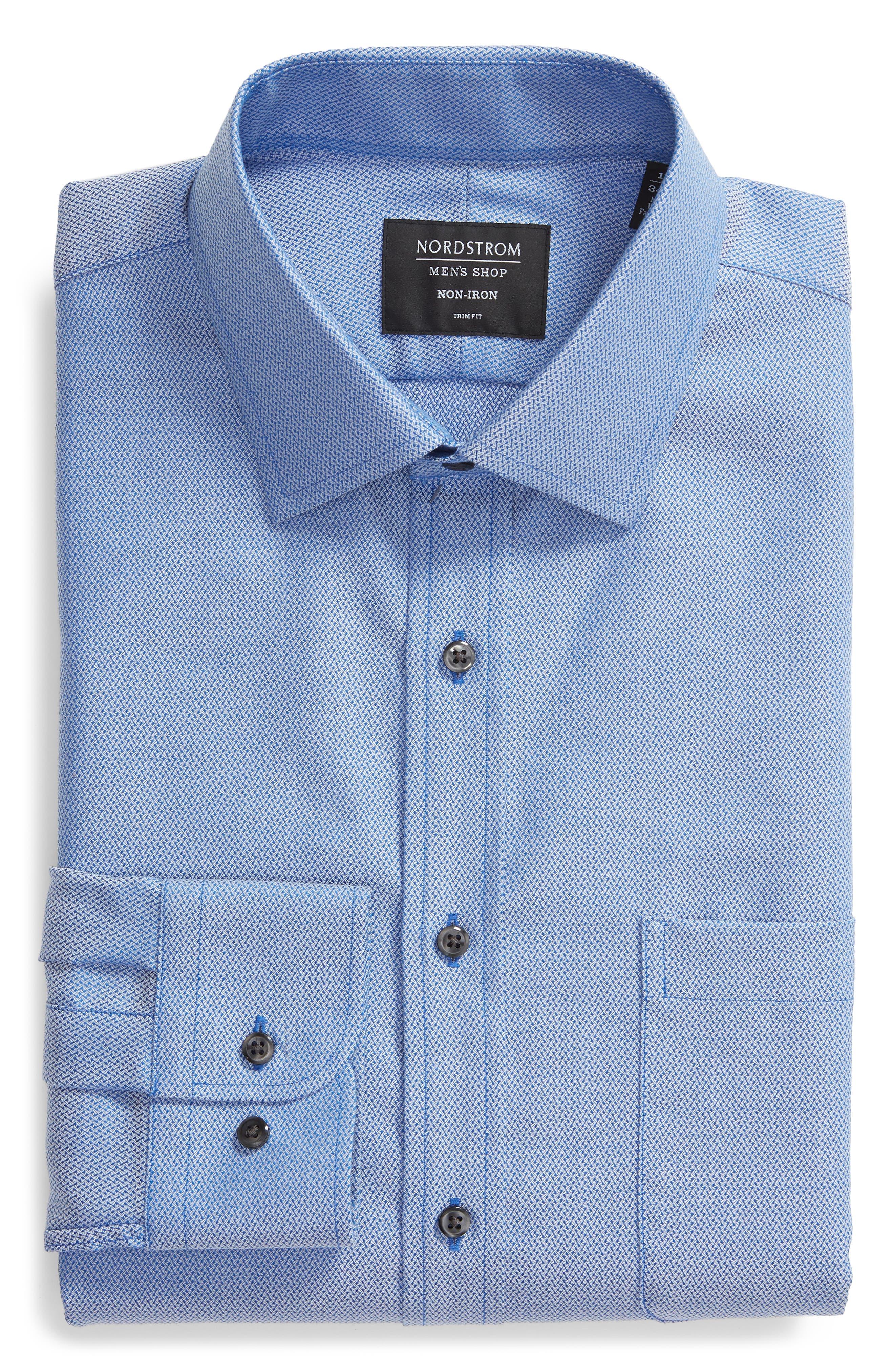 Trim Fit No-Iron Geometric Dress Shirt,                             Alternate thumbnail 5, color,                             BLUE CAMP