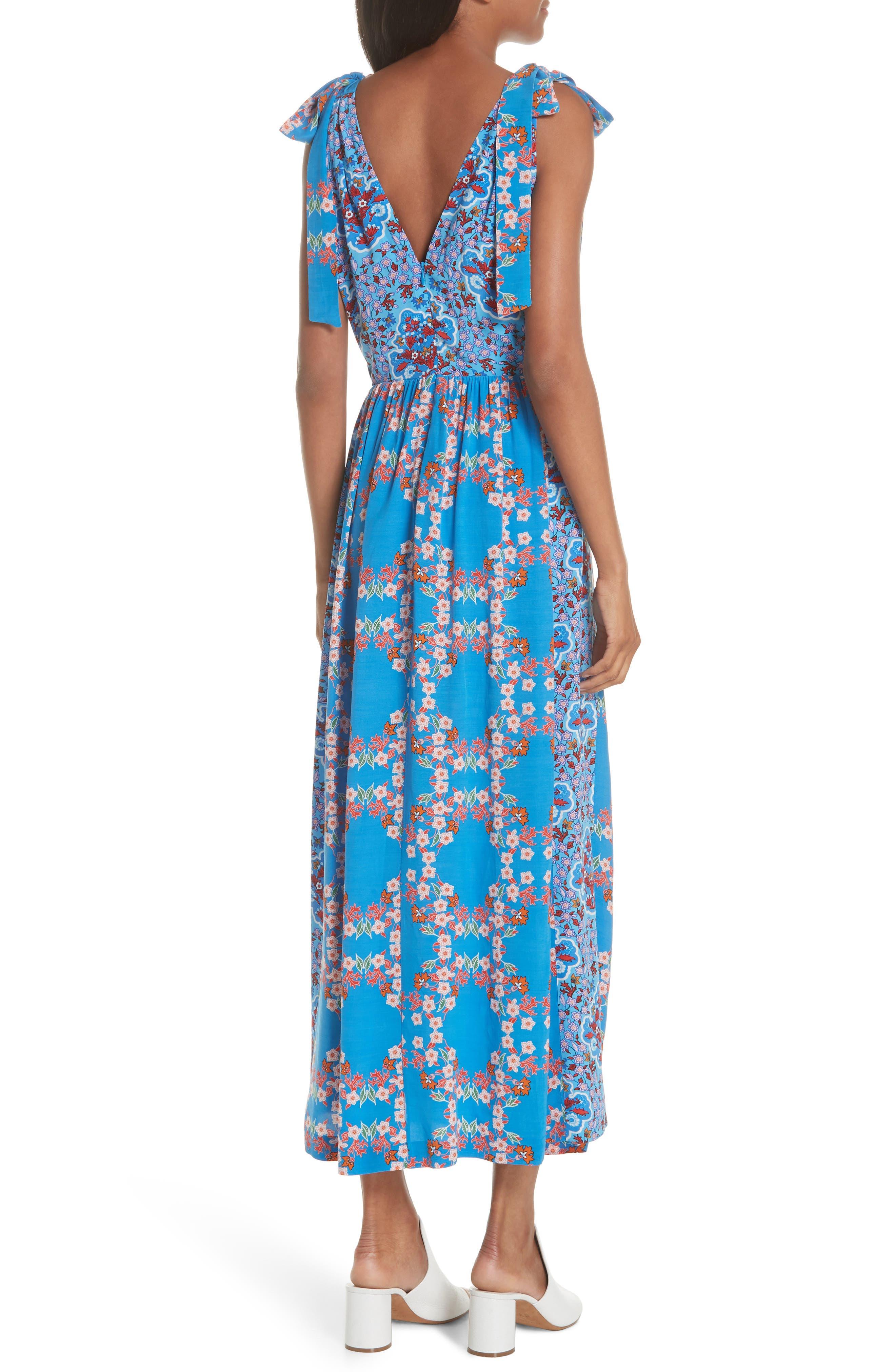 Floral Plunging Slit Dress,                             Alternate thumbnail 2, color,                             400