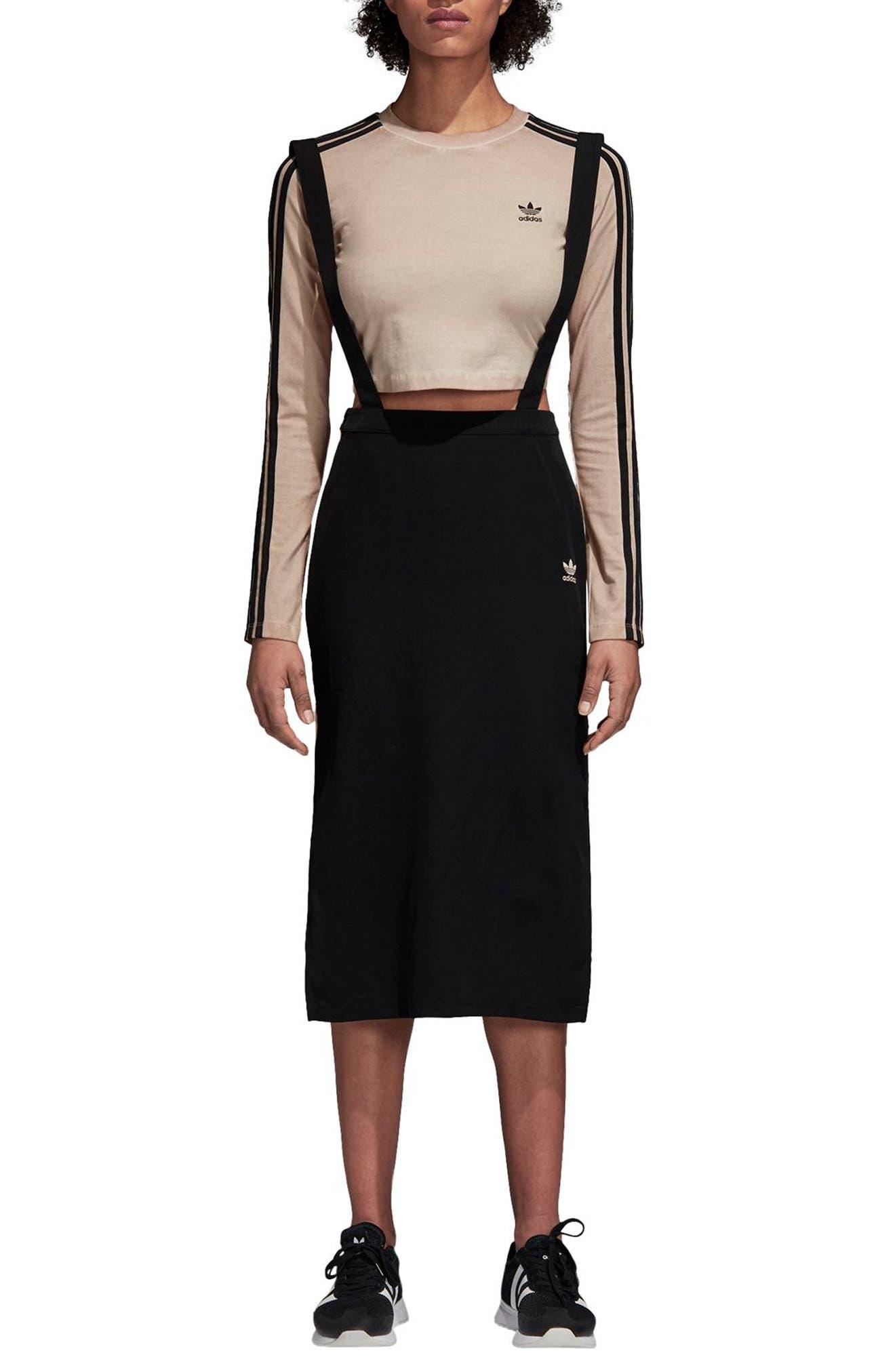 ADIDAS ORIGINALS,                             Midi Skirt with Shoulder Straps,                             Main thumbnail 1, color,                             001