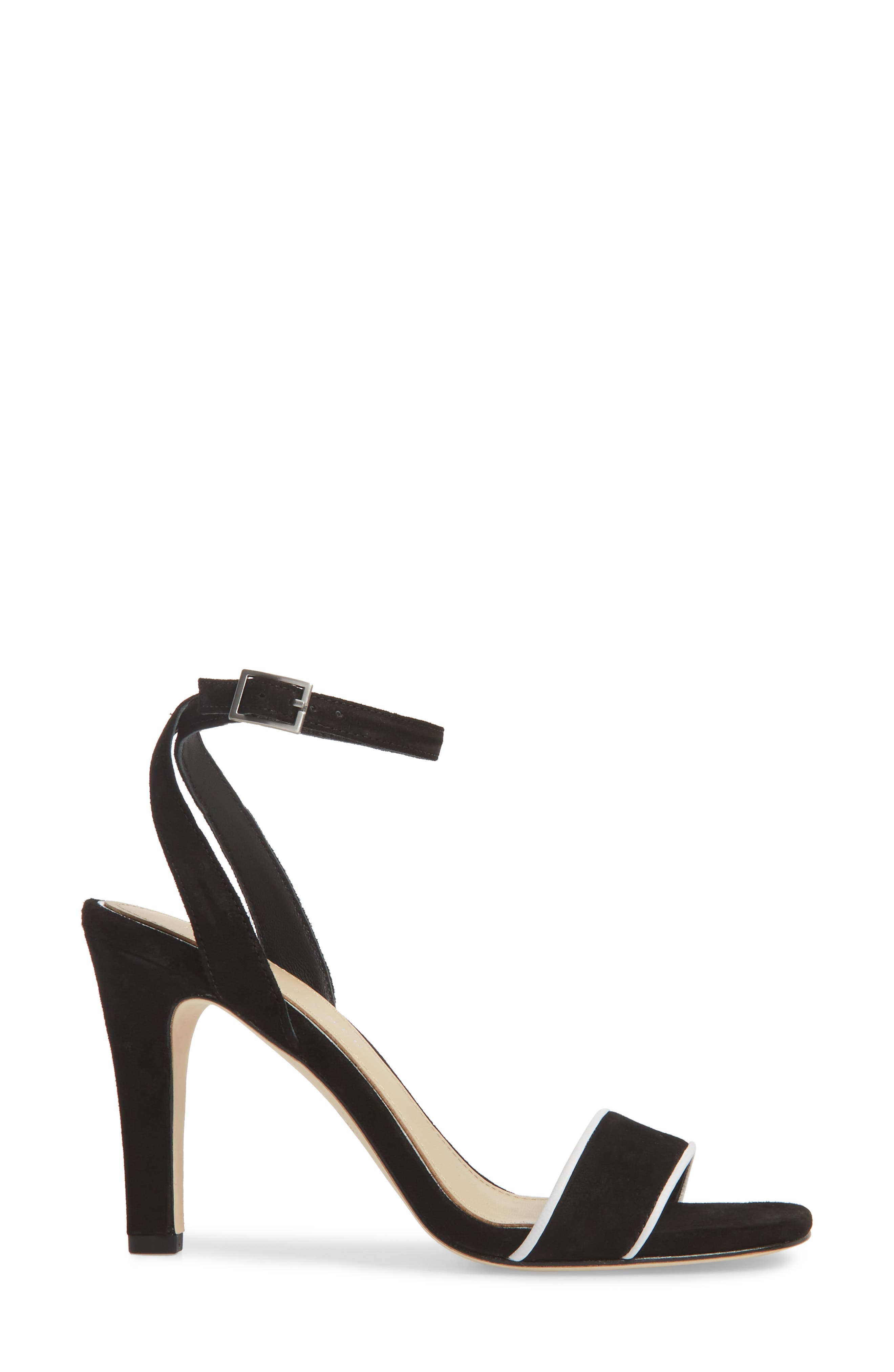 Martini Sandal,                             Alternate thumbnail 3, color,                             BLACK/ WHITE SUEDE