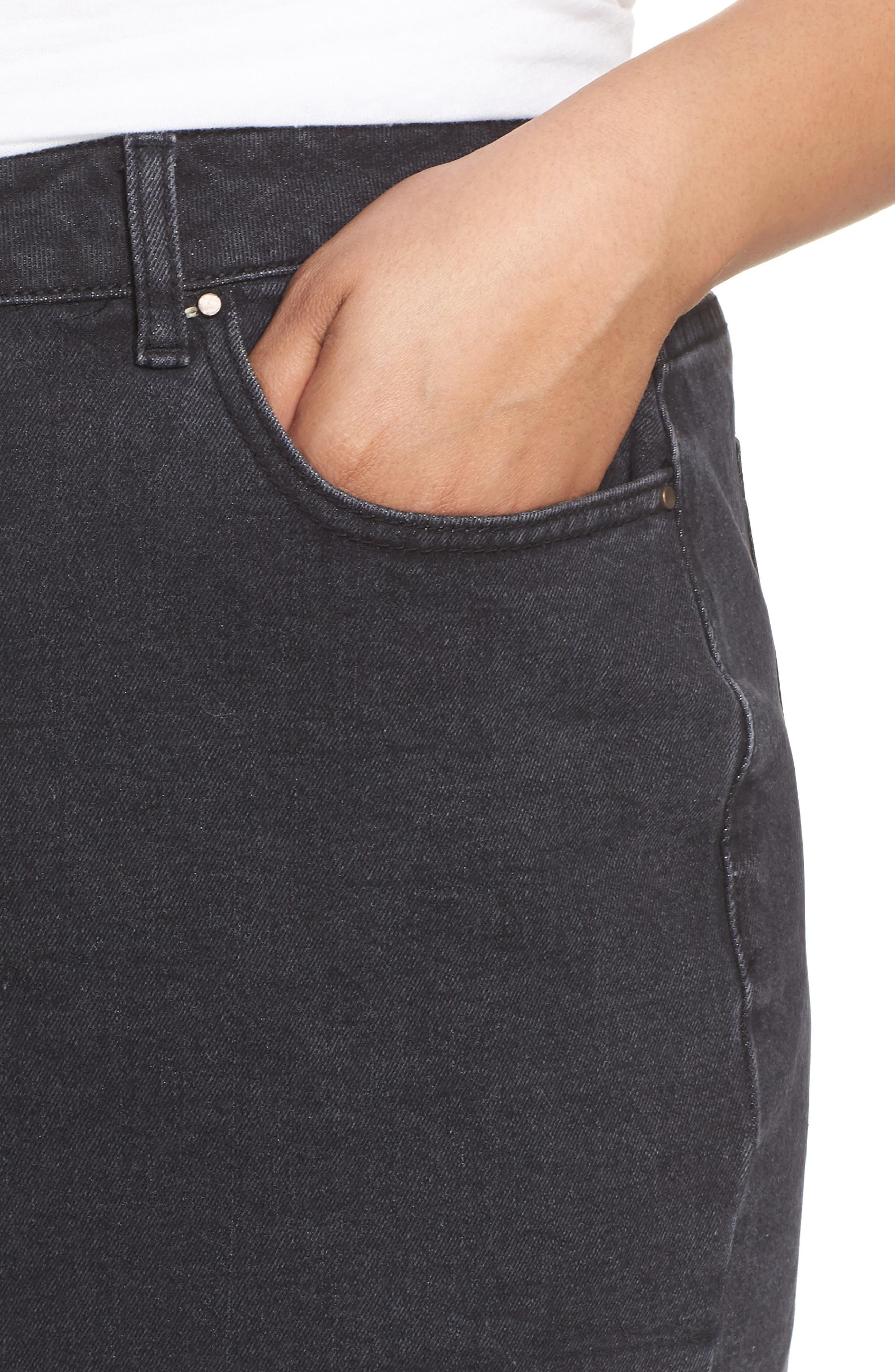 Denim Pencil Skirt,                             Alternate thumbnail 4, color,                             001