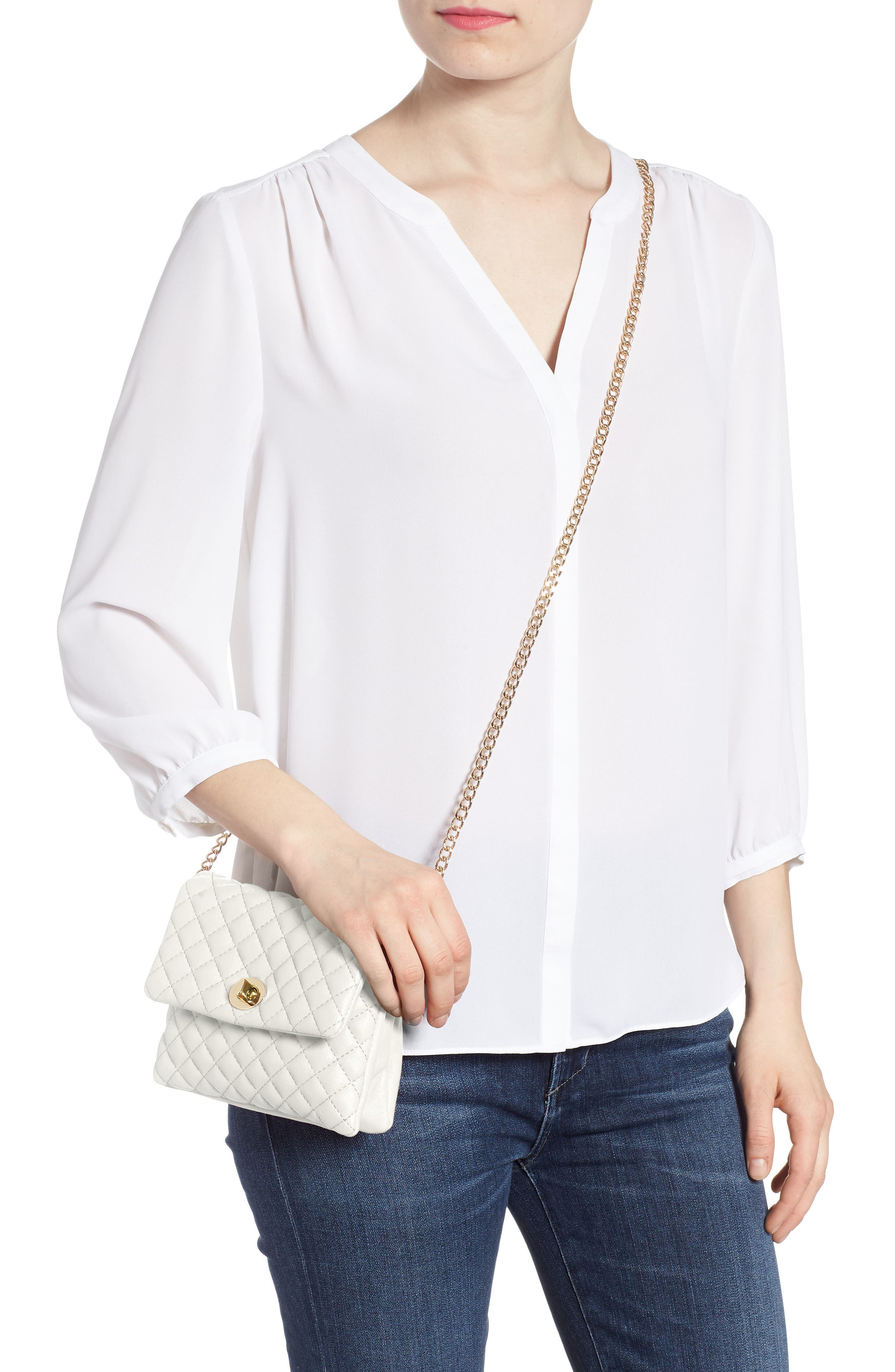 Mali + Lili Quilted Vegan Leather Convertible Belt Bag,                             Alternate thumbnail 9, color,                             WHITE