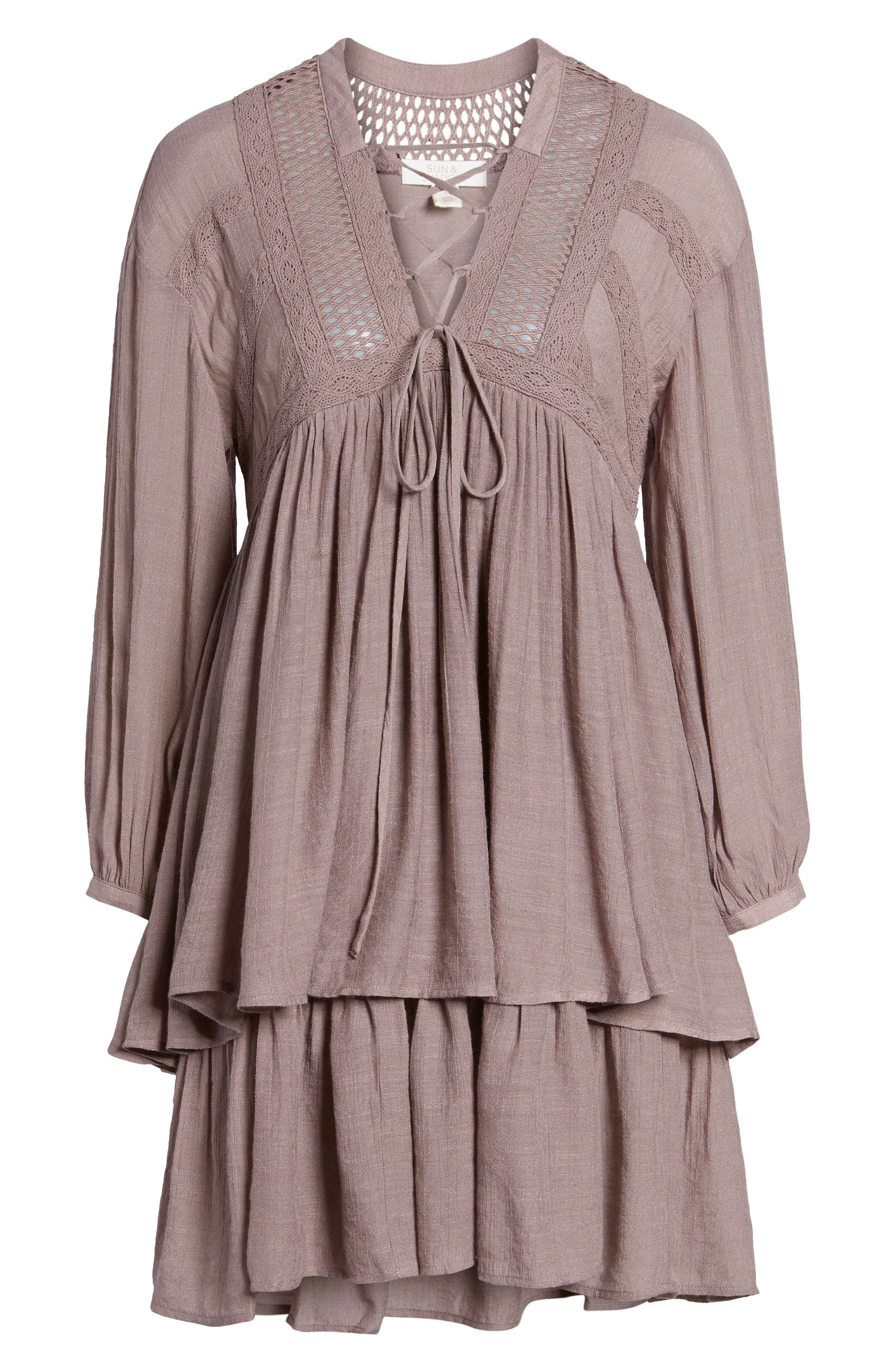 Lace-Up Peasant Dress,                             Alternate thumbnail 6, color,                             530
