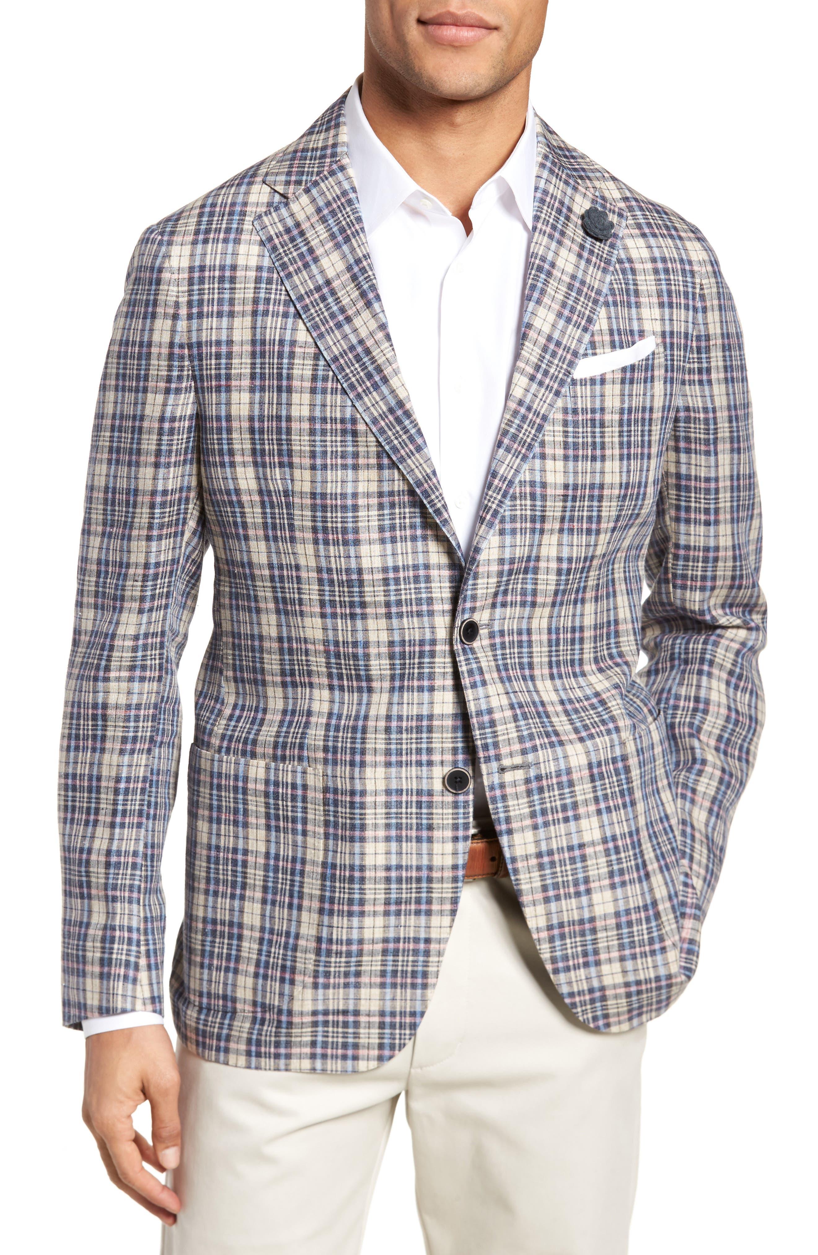 Trim Fit Plaid Linen Sport Coat,                             Main thumbnail 1, color,                             250