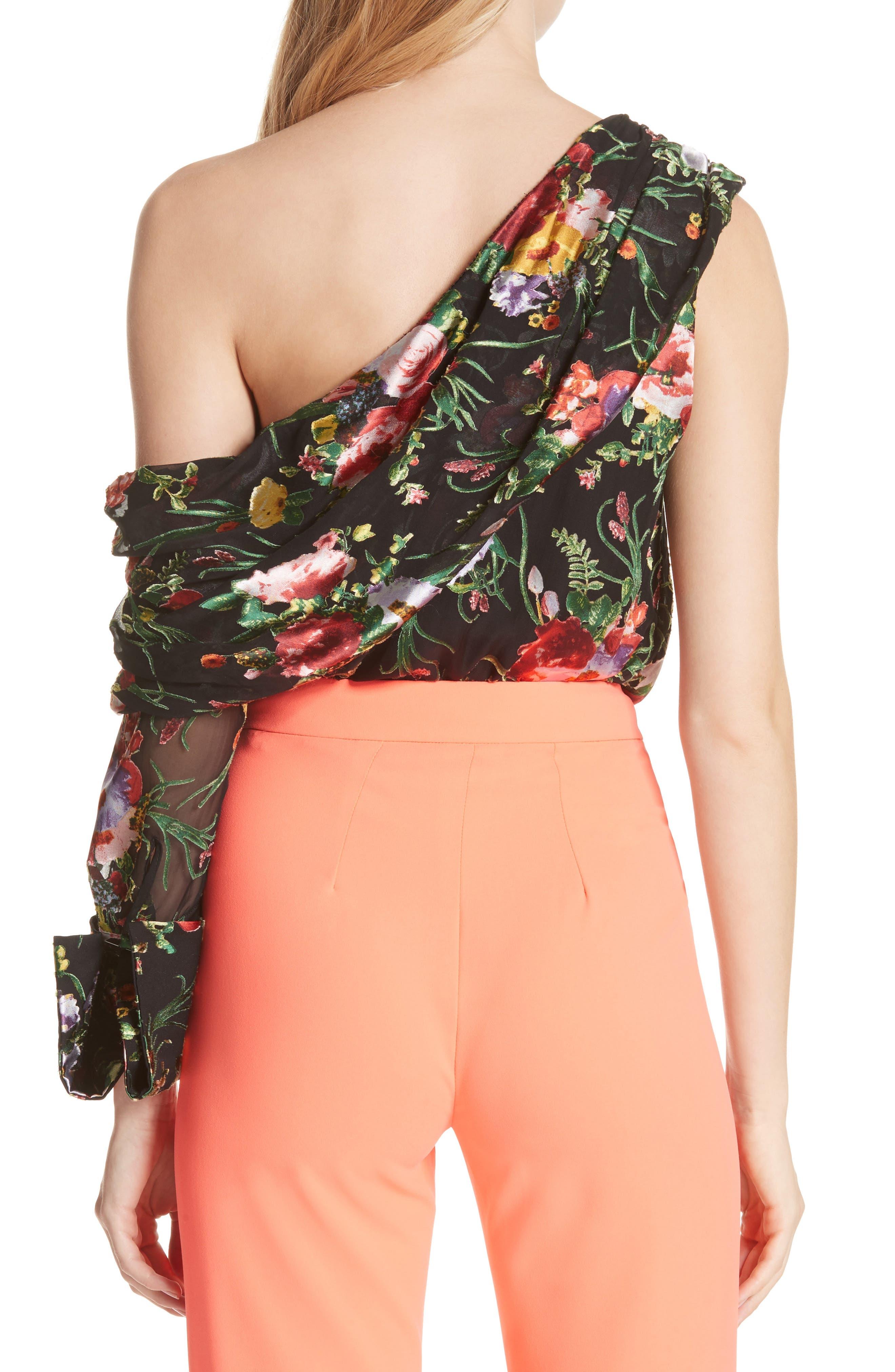 Serita One-Shoulder Floral Top,                             Alternate thumbnail 2, color,                             001