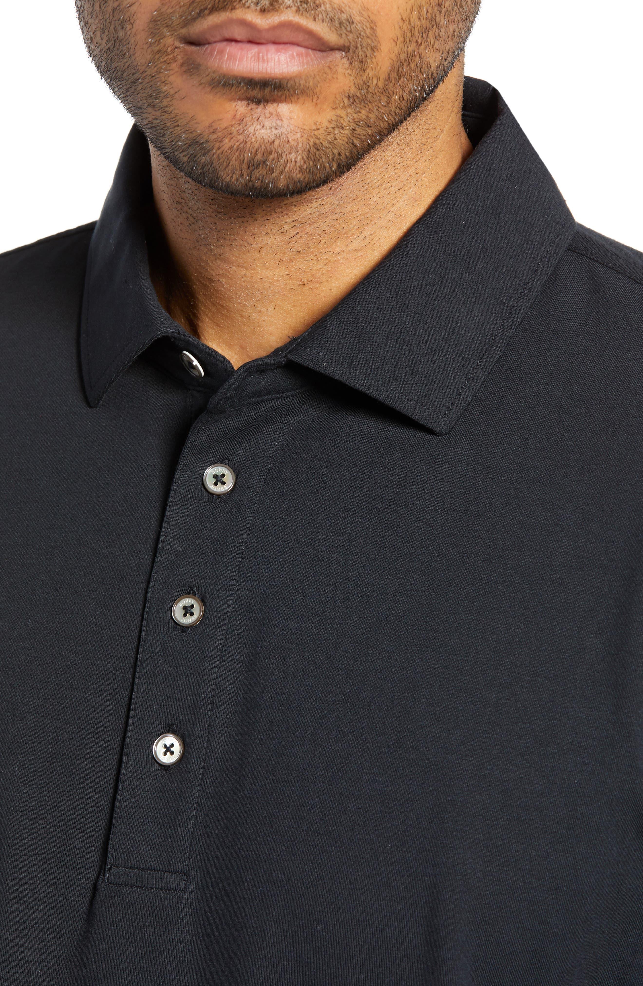 BOBBY JONES,                             Liquid Cotton Stretch Jersey Polo,                             Alternate thumbnail 4, color,                             BLACK