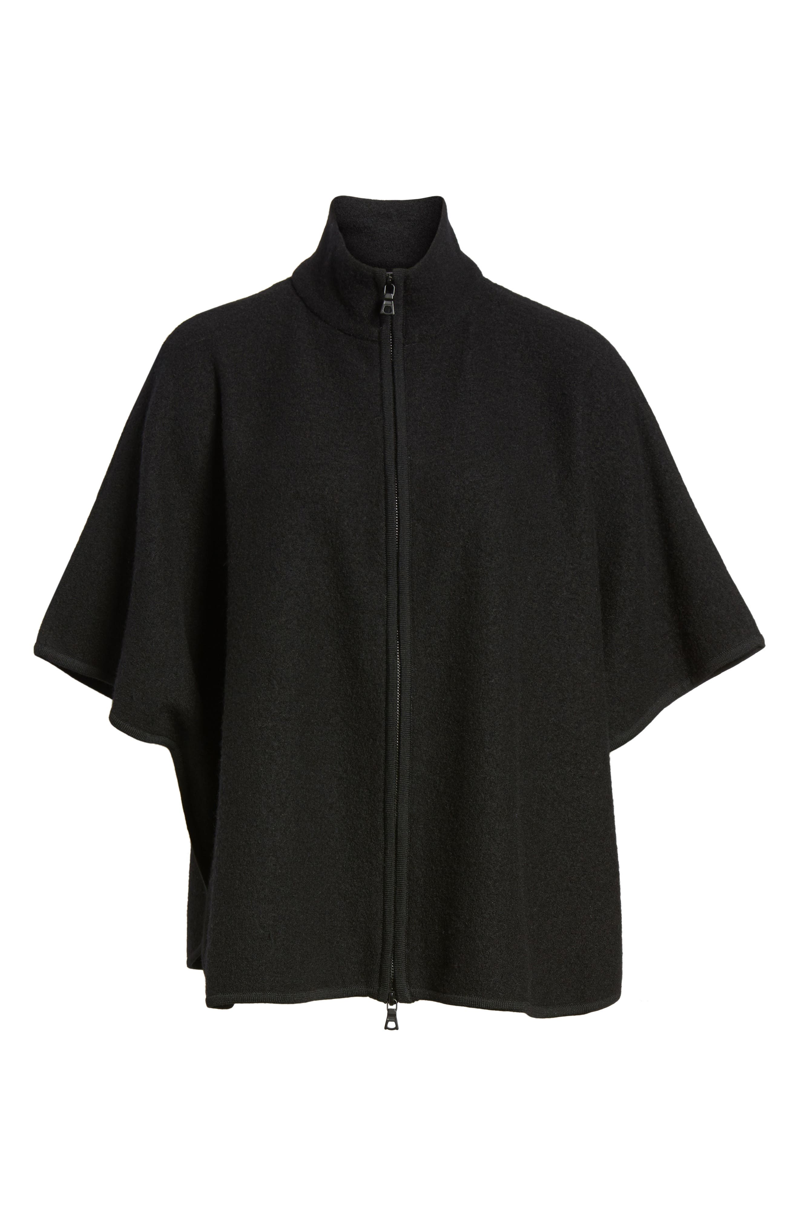 Zip Front Boiled Wool Cape,                             Alternate thumbnail 6, color,                             001