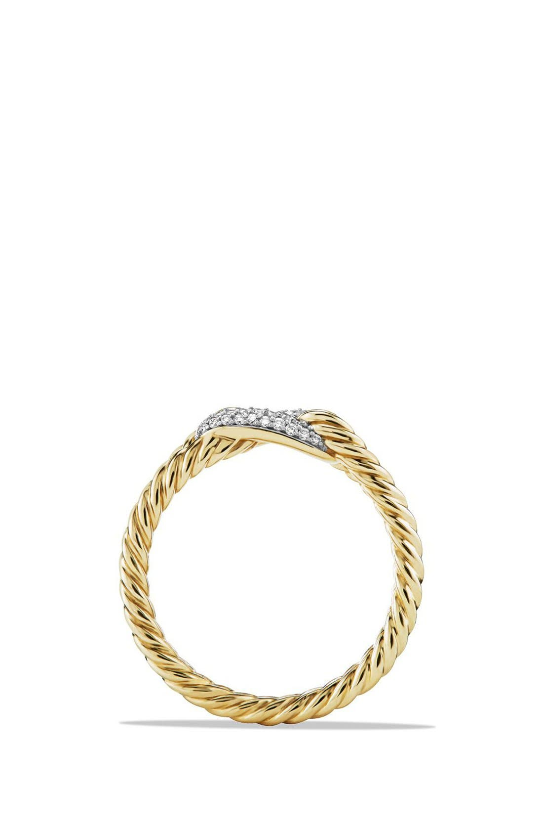 'Petite Pavé' Loop Ring with Diamonds in 18K Gold,                             Alternate thumbnail 2, color,                             GOLD
