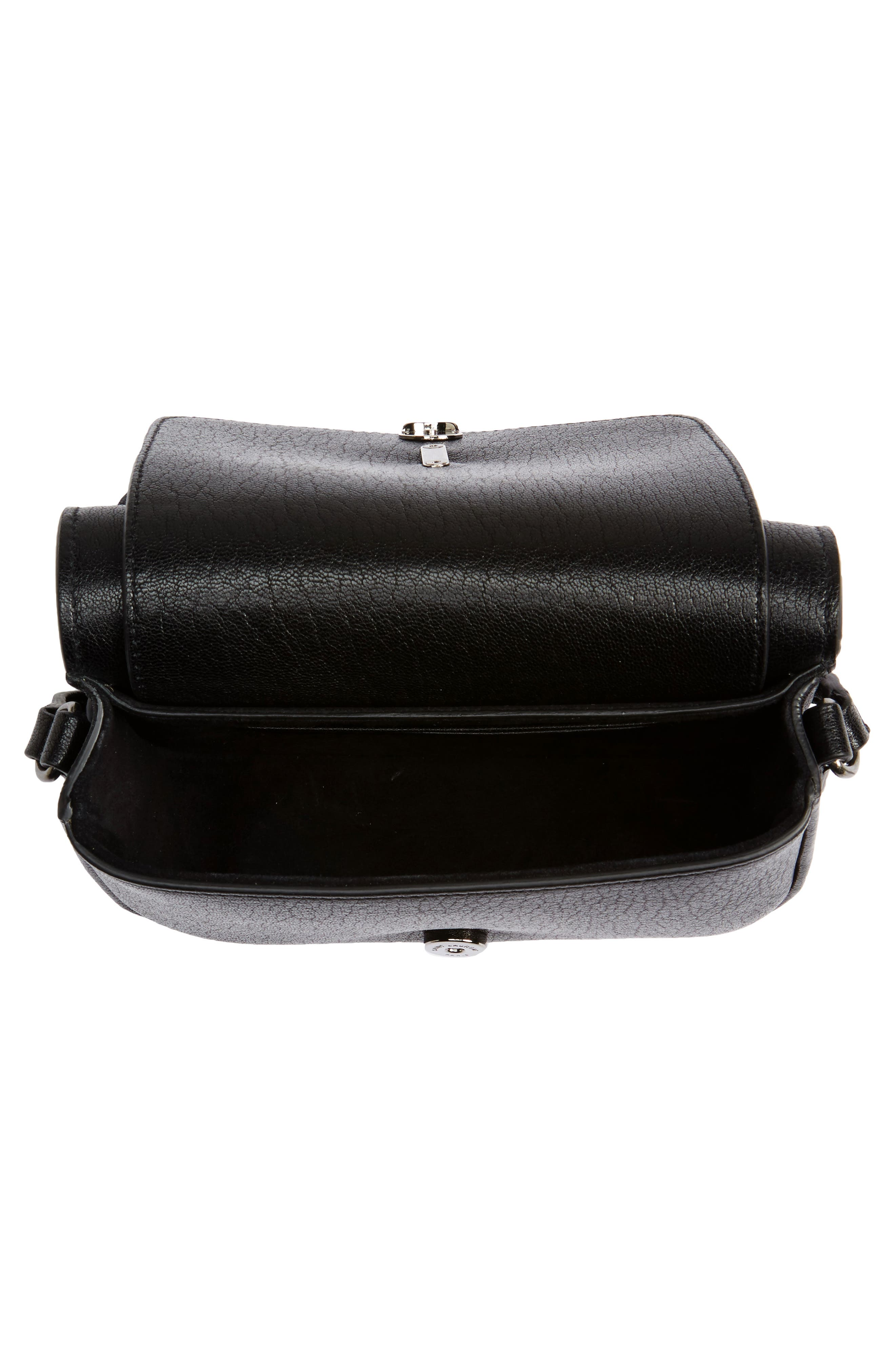 Calfskin Leather Crossbody Bag,                             Alternate thumbnail 4, color,                             001