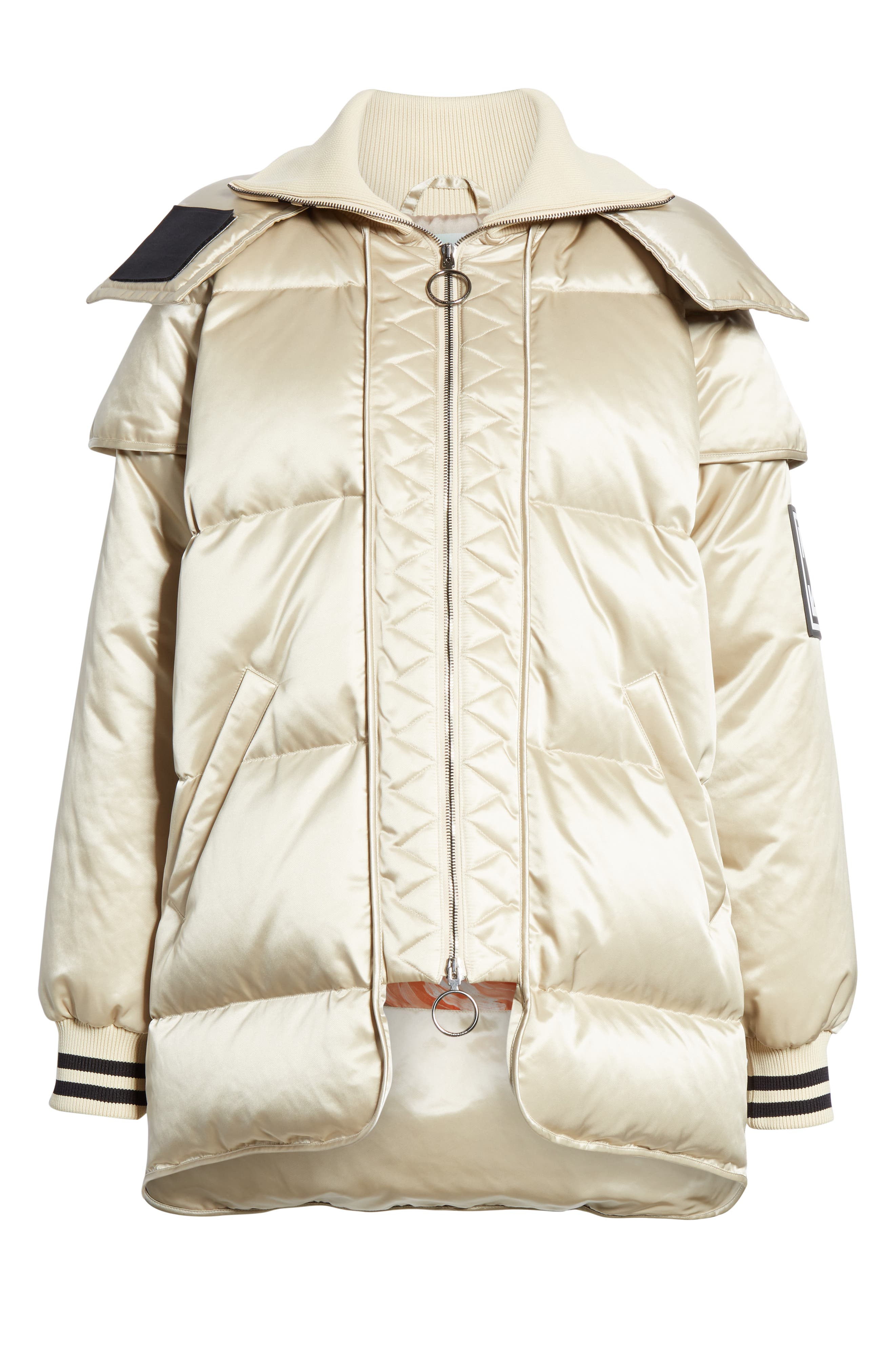 Patch Down Fill Puffer Jacket,                             Alternate thumbnail 5, color,                             BEIGE BLACK