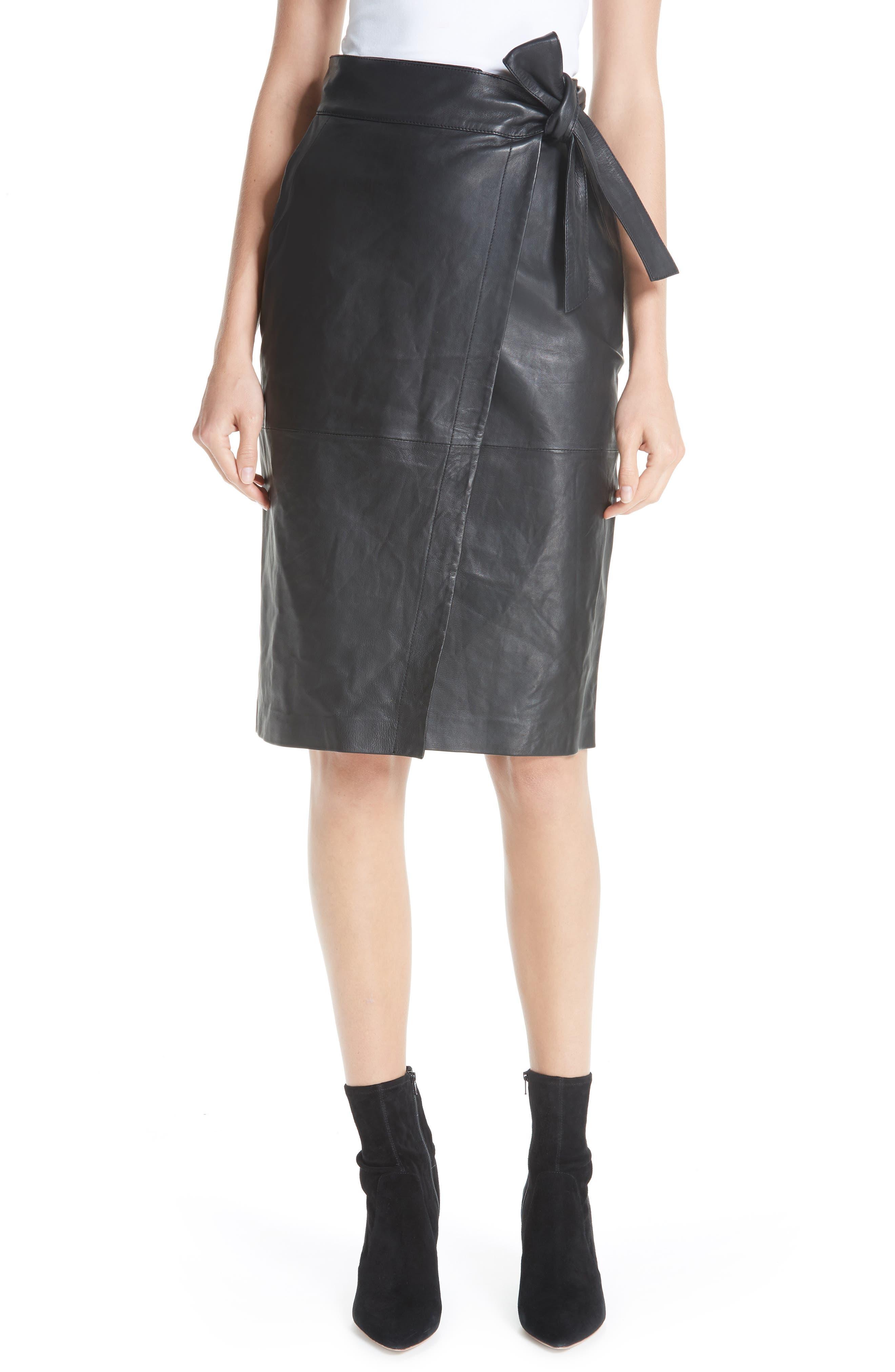Magic Wrap Leather Skirt,                             Main thumbnail 1, color,                             BLACK