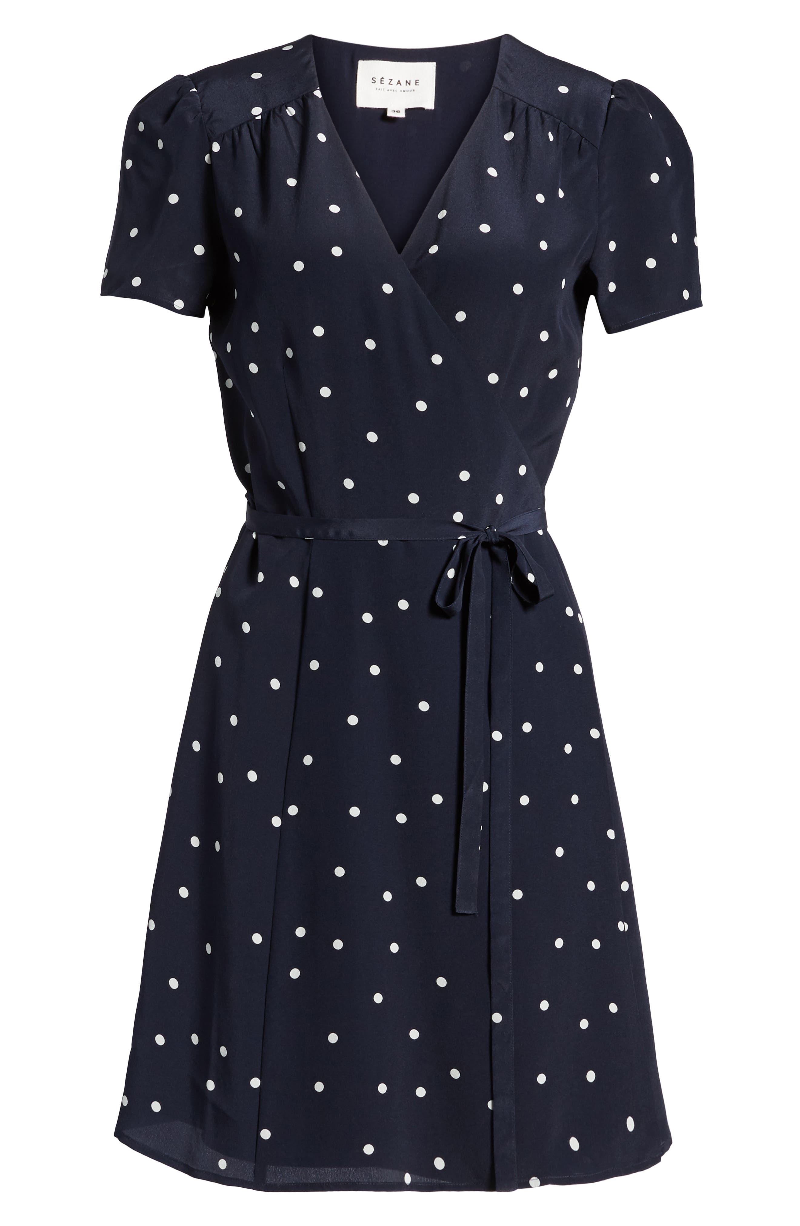 Anastasia Silk Wrap Dress,                             Alternate thumbnail 6, color,                             400