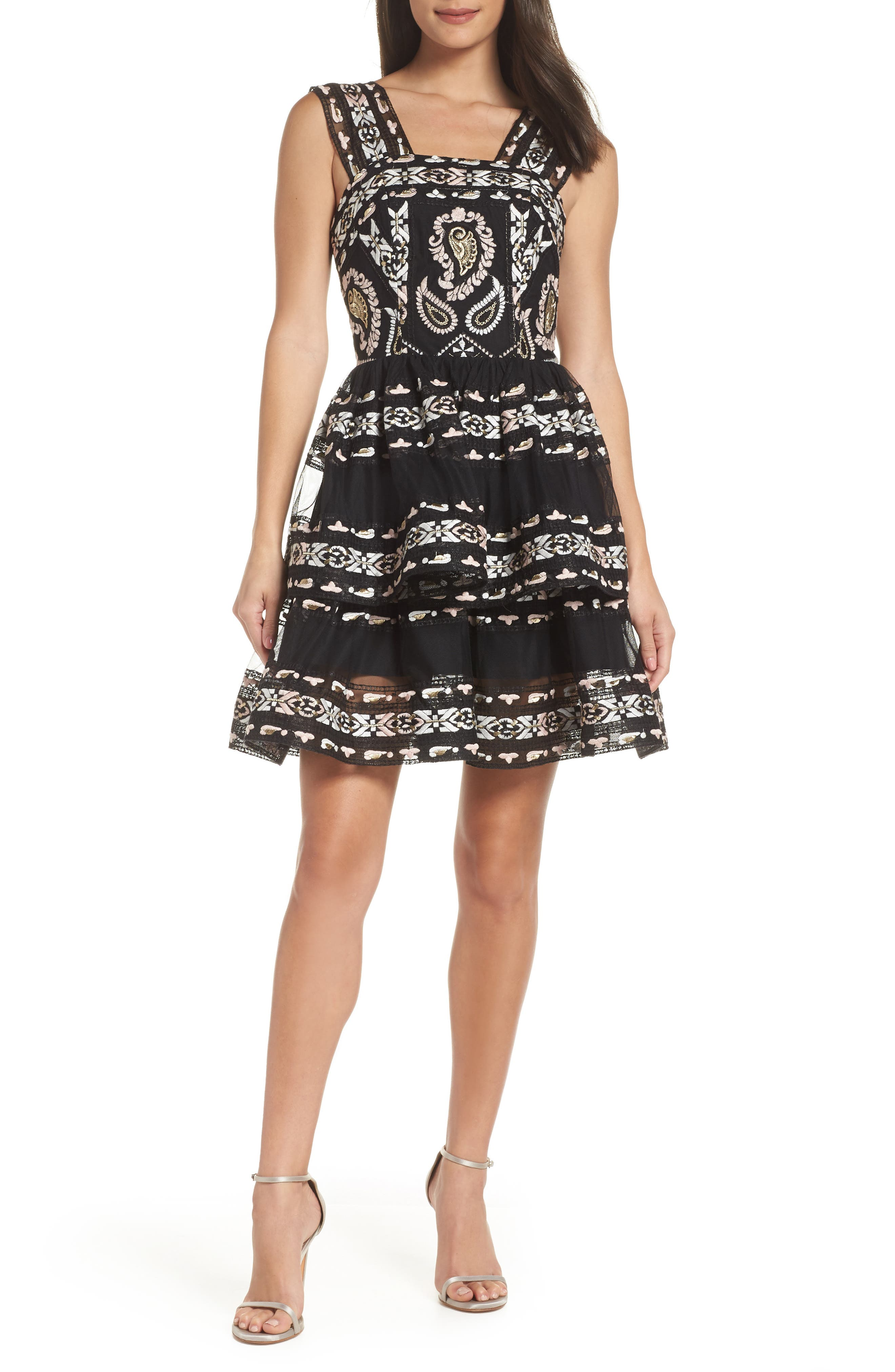 BRONX AND BANCO Ethnos Lace Fit & Flare Dress in Multicolor