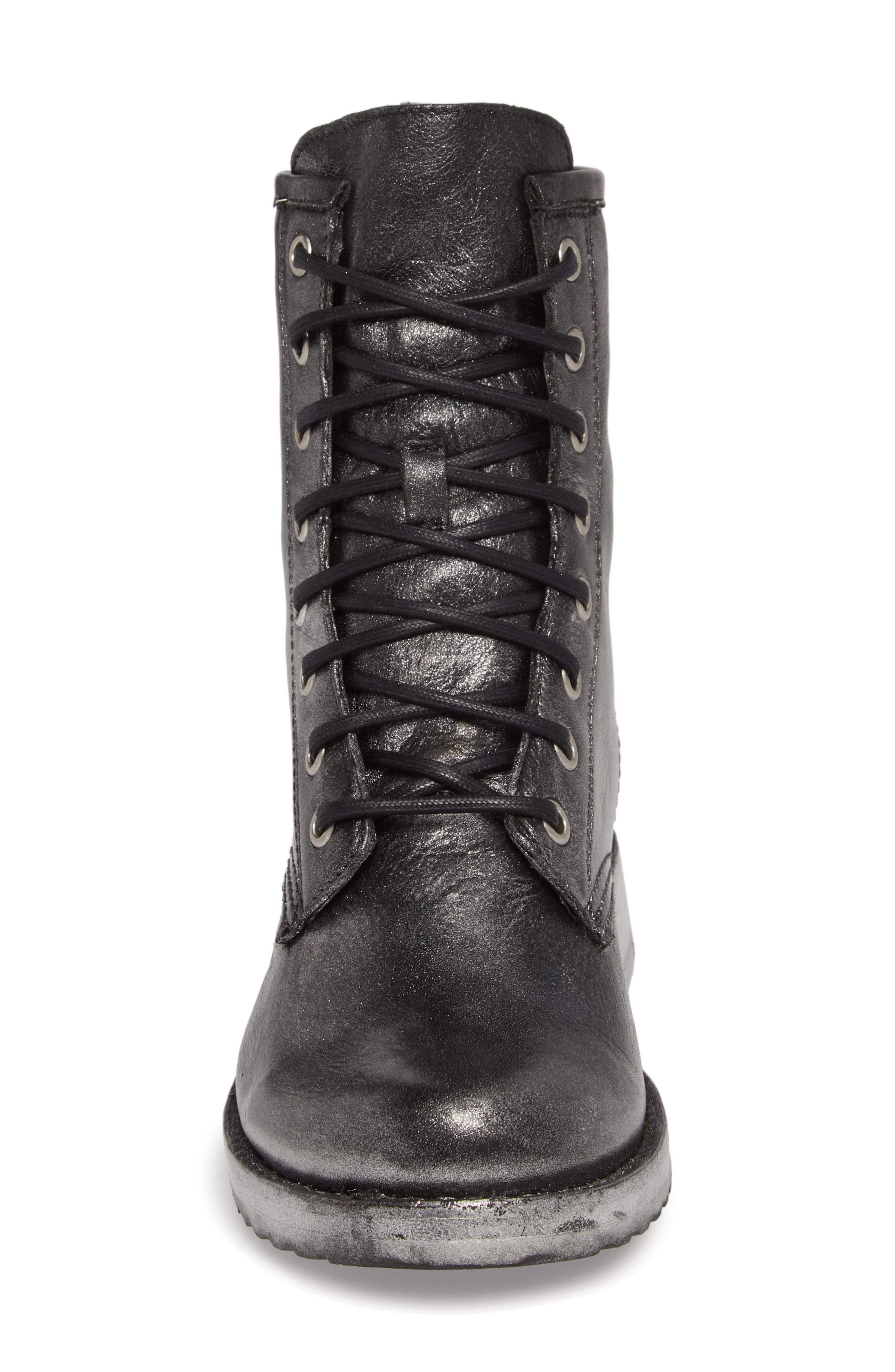 'Veronica Combat' Boot,                             Alternate thumbnail 4, color,                             BLACK METALLIC LEATHER