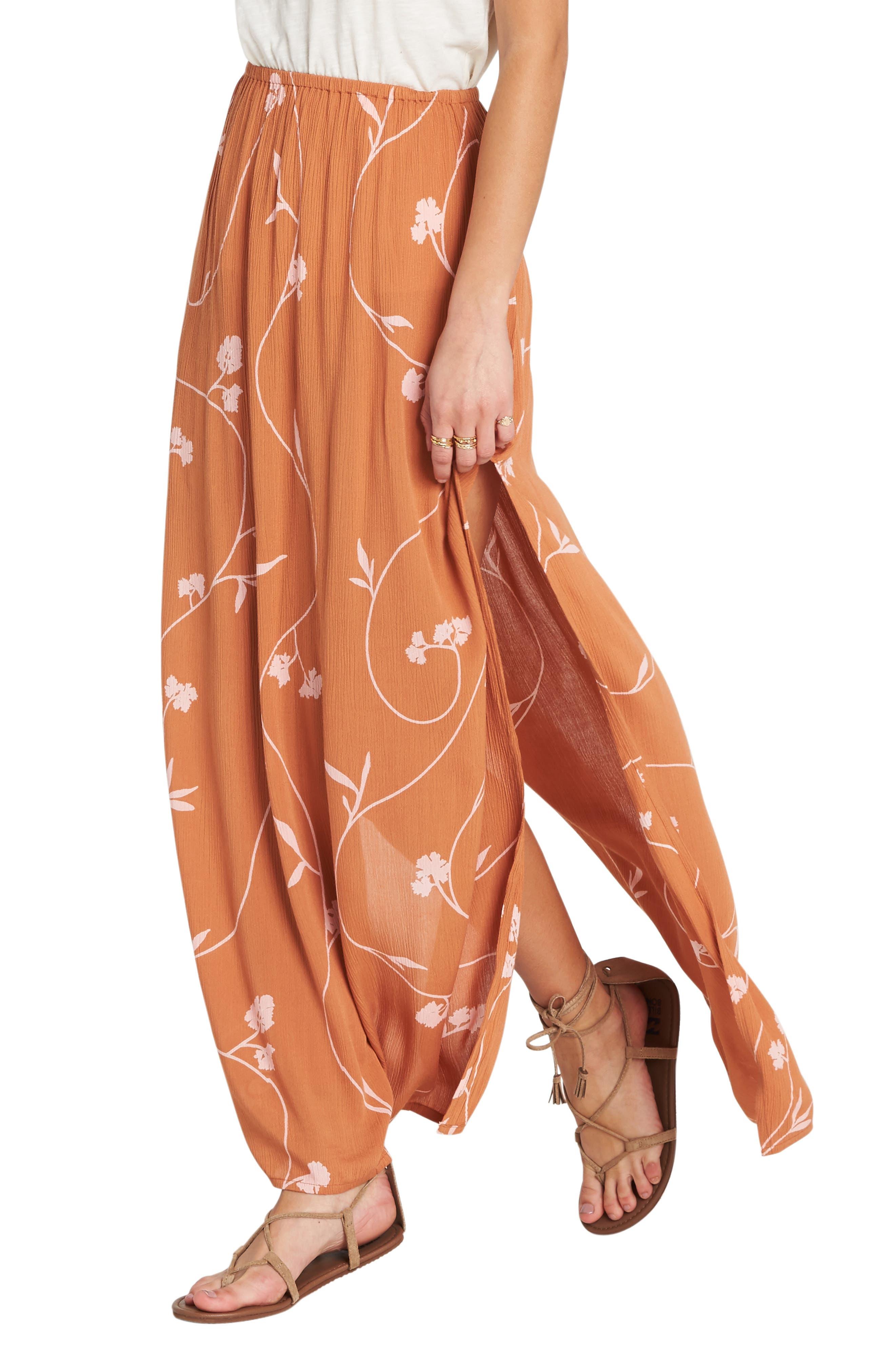 Love Trip Side Slit Skirt,                             Alternate thumbnail 3, color,                             TOFFEE