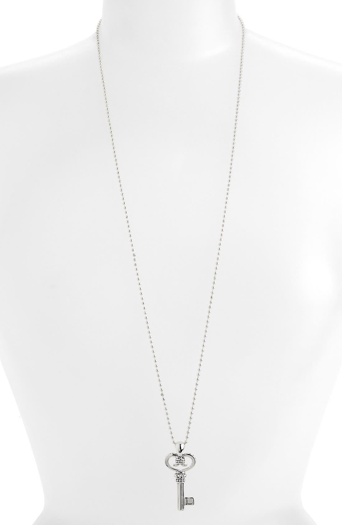 Sterling Silver Key Long Strand Pendant Necklace,                             Alternate thumbnail 3, color,                             KEY
