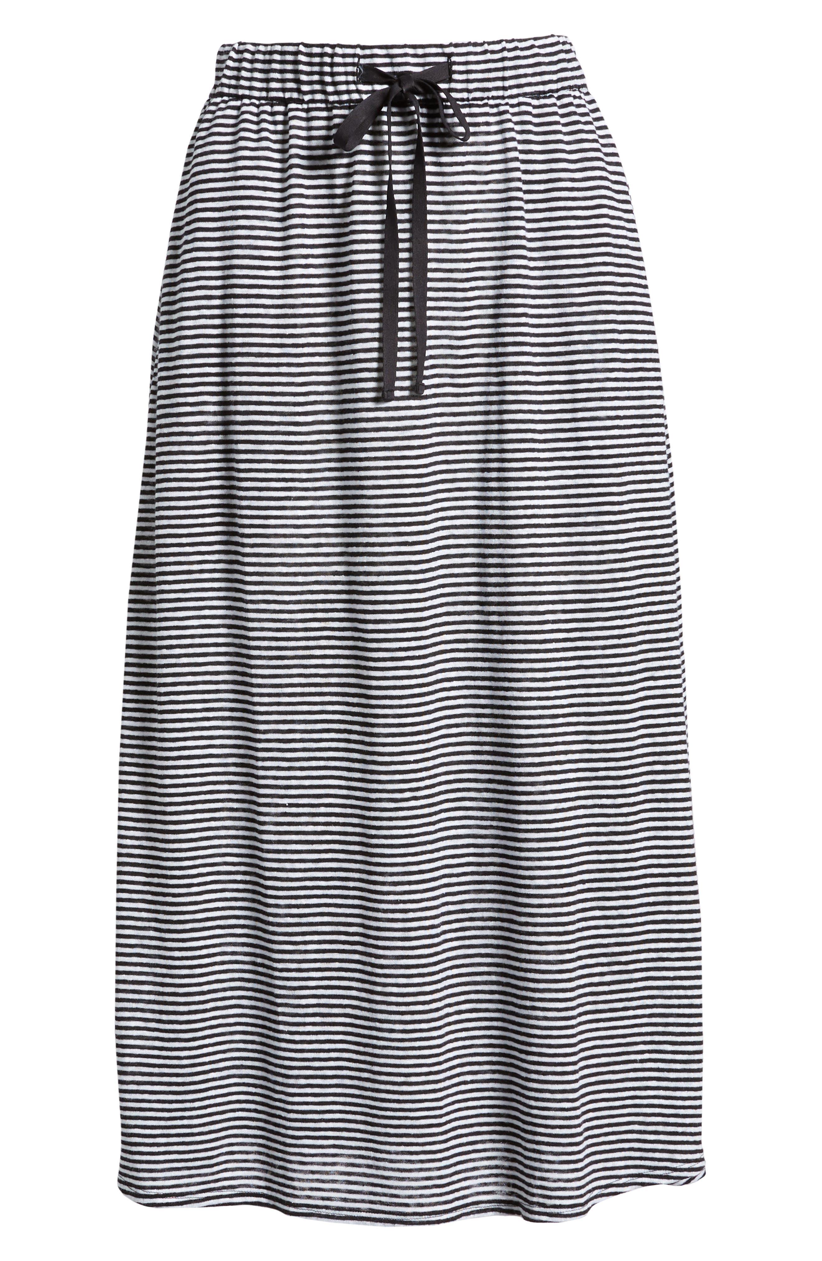 Flared Stripe Organic Linen Skirt,                             Alternate thumbnail 11, color,