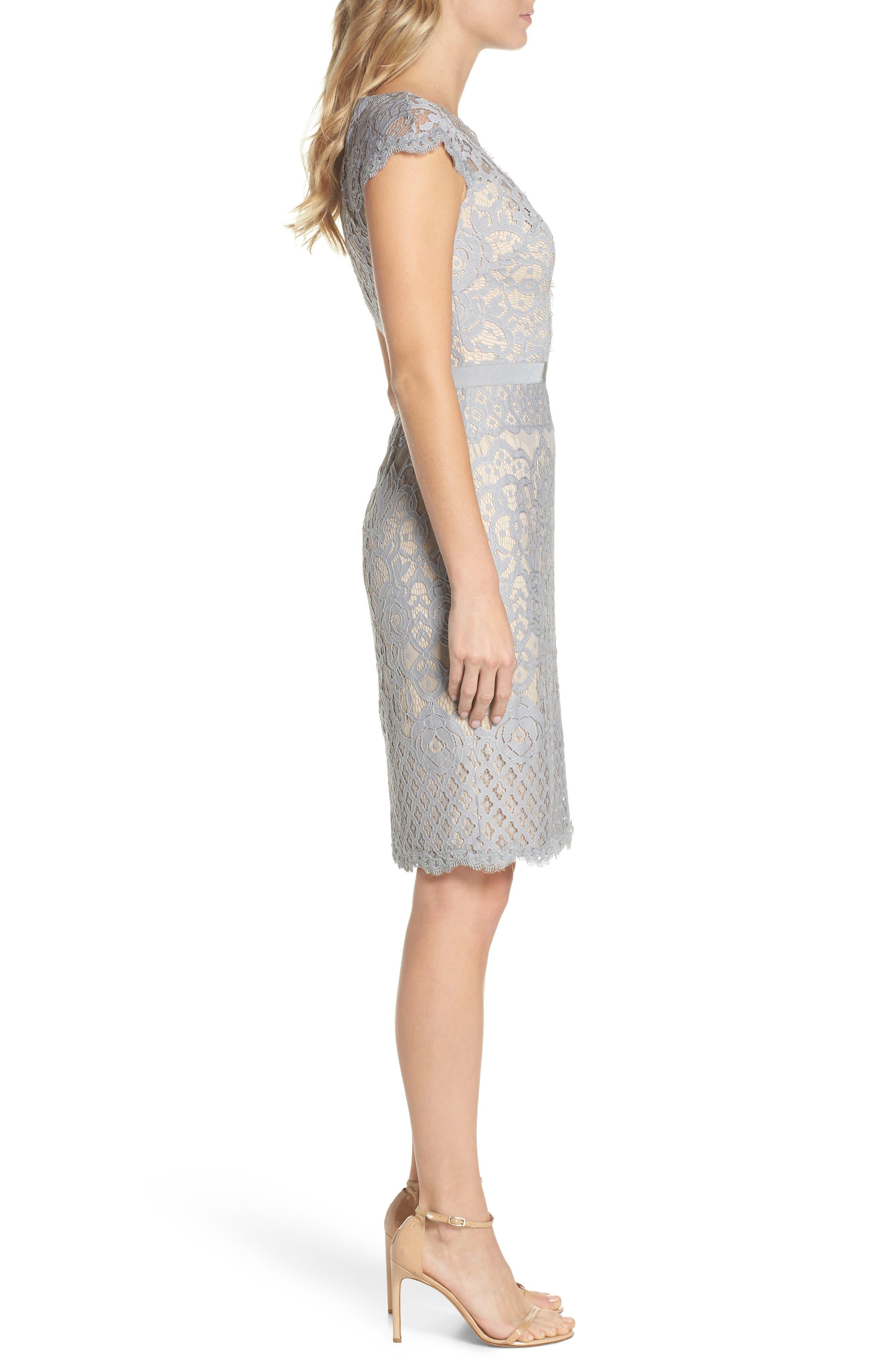 Lace Sheath Dress,                             Alternate thumbnail 3, color,                             PEWTER/ PETAL